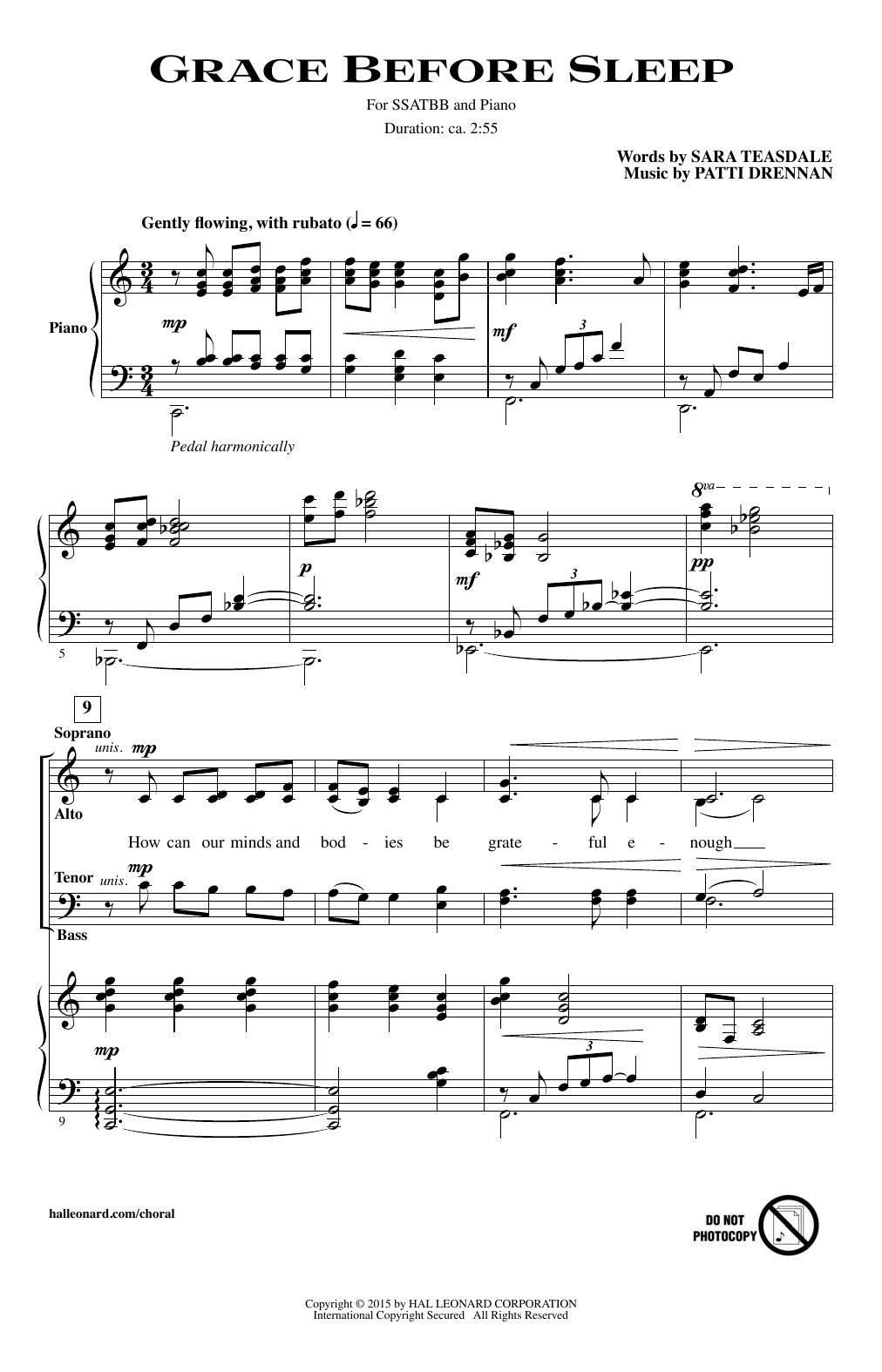 Partition chorale Grace Before Sleep de Patti Drennan - SSATB