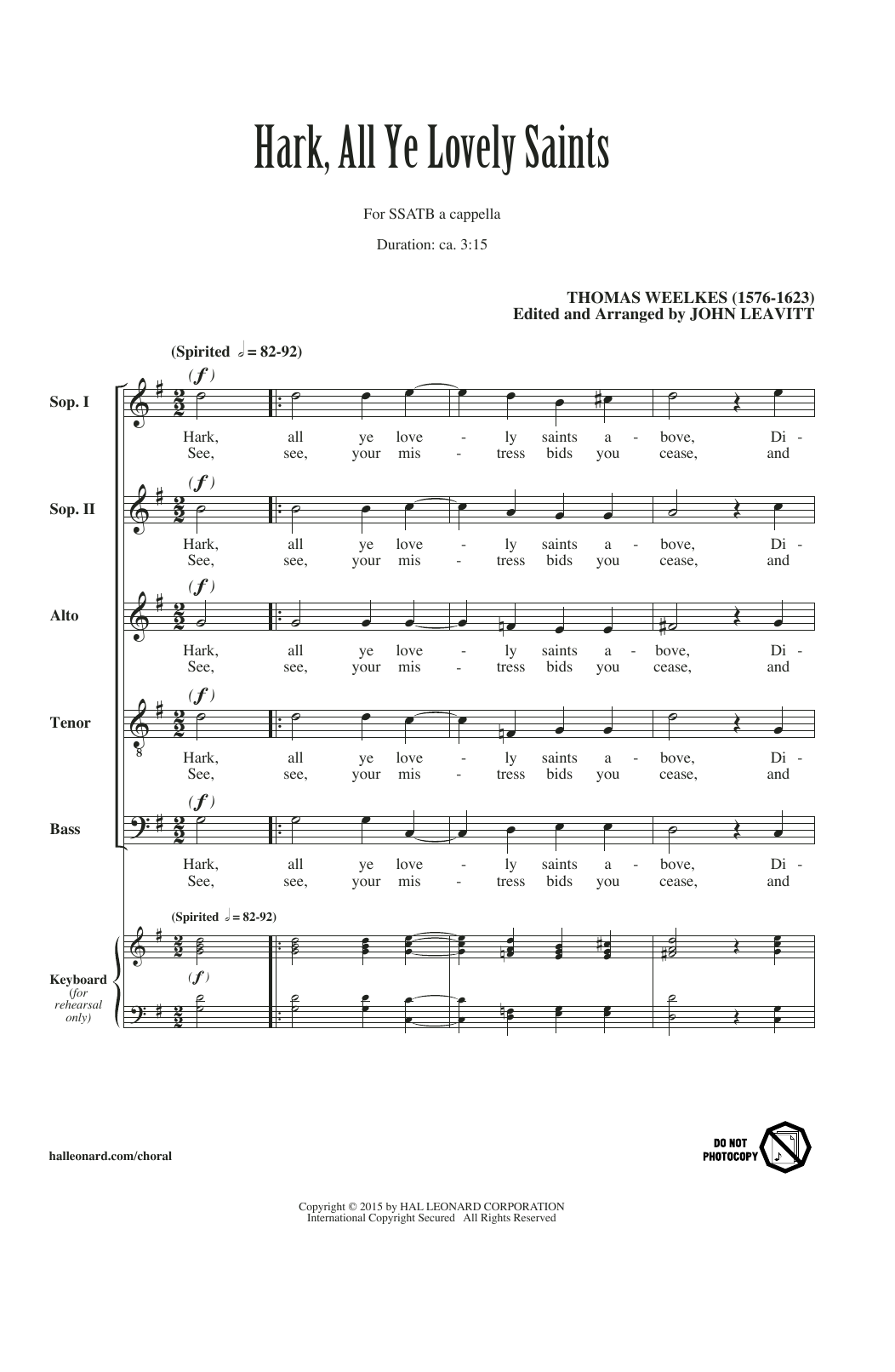 Hark All Ye Lovely Saints (arr. John Leavitt) Sheet Music
