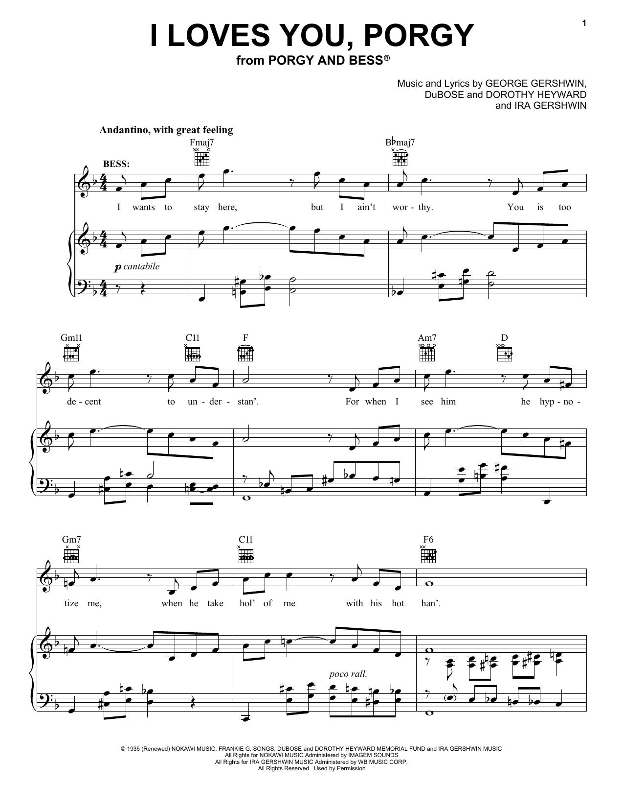 I Loves You, Porgy Sheet Music