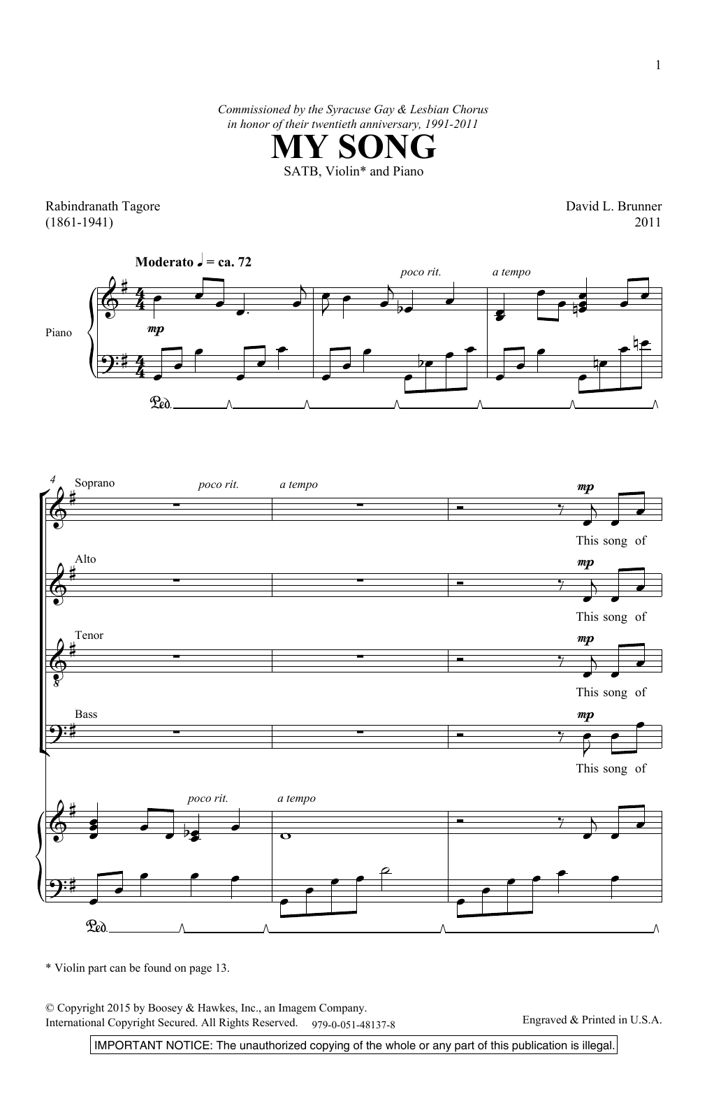 My Song (SATB Choir)