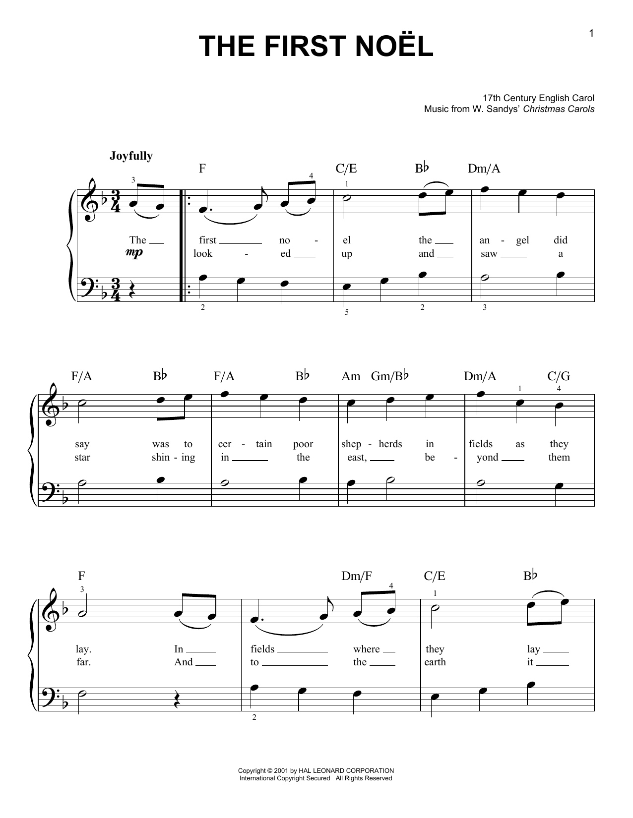 Partition piano The First Noel de Christmas Carol - Piano Facile