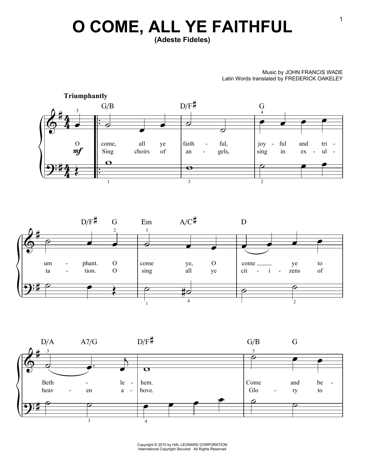 O Come, All Ye Faithful (Adeste Fideles) (Easy Piano)