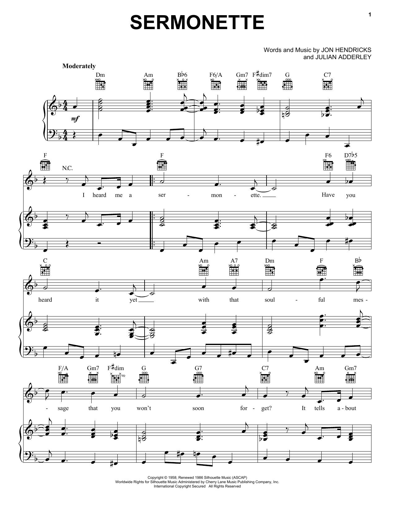 Partition piano Sermonette de Cannonball Adderley - Piano Voix Guitare (Mélodie Main Droite)