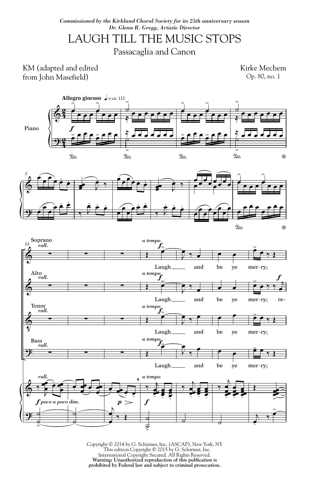 Partition chorale Laugh Till The Music Stops de Kirke Mechem - SATB
