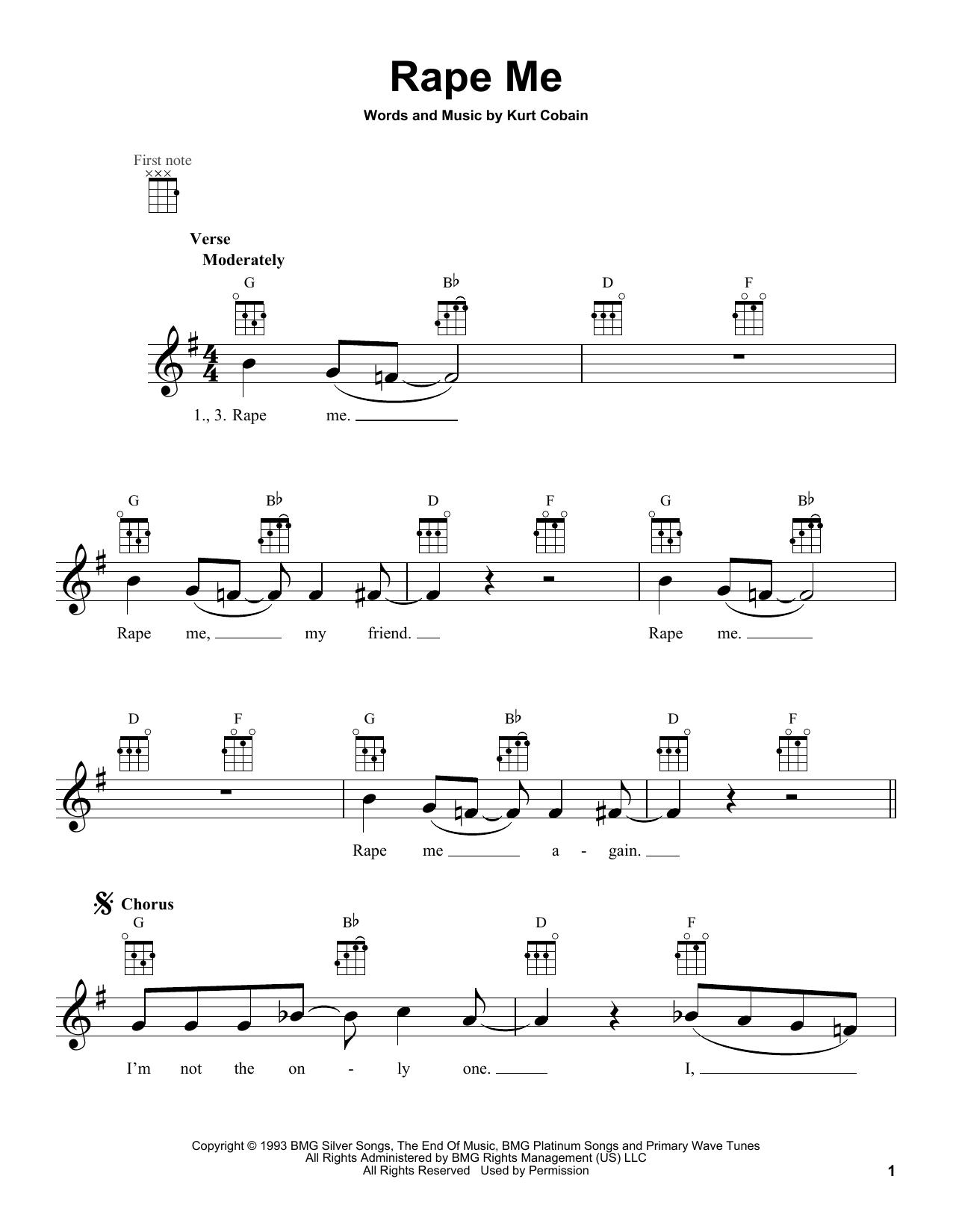 Tablature guitare Rape Me de Nirvana - Ukulele