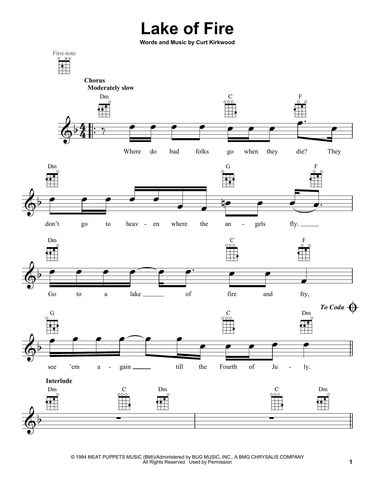 Tablature guitare Lake Of Fire de Nirvana - Ukulele