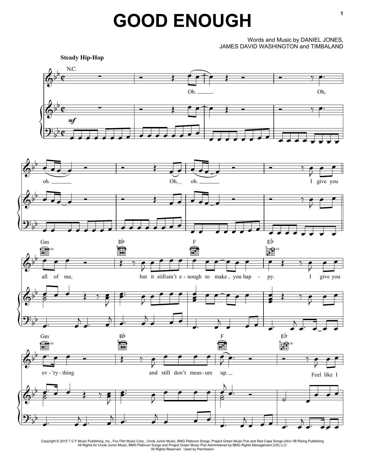 Partition piano Good Enough de Jussie Smollett - Piano Voix Guitare (Mélodie Main Droite)