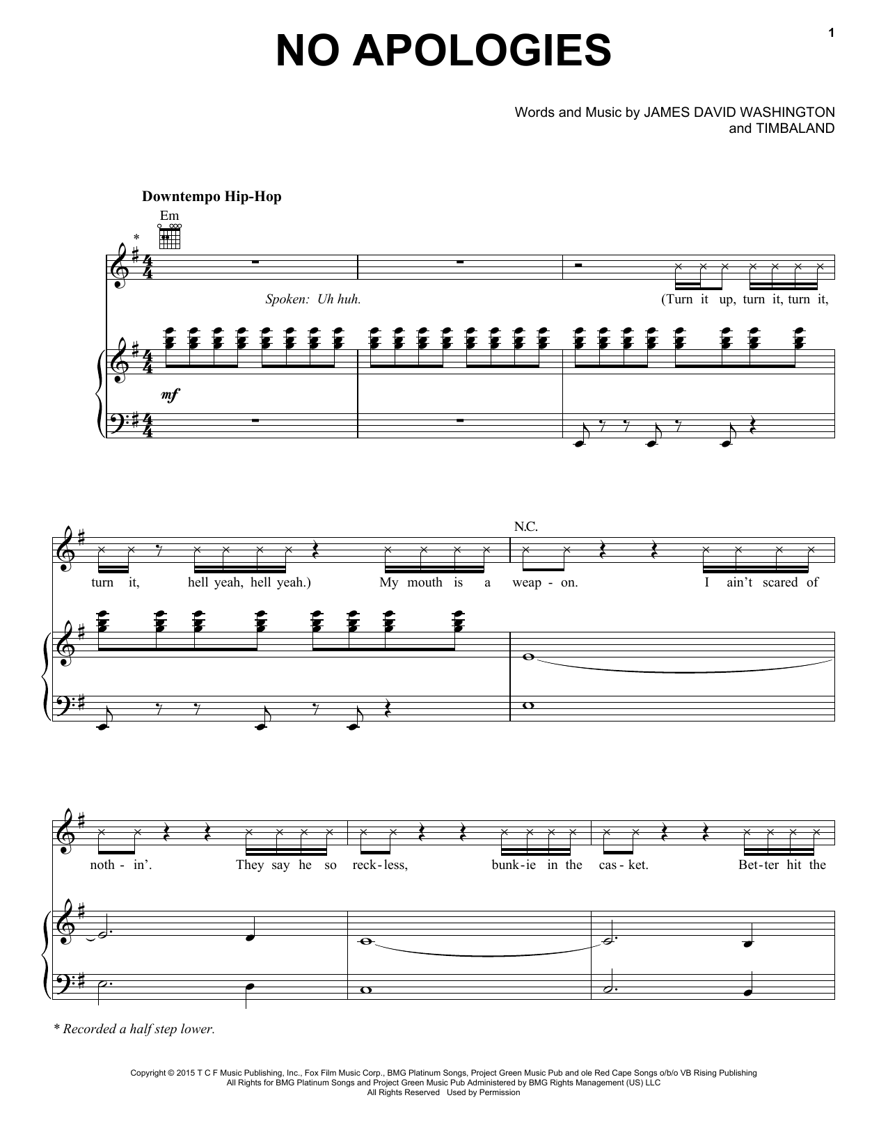 No Apologies (feat. Yazz) Sheet Music