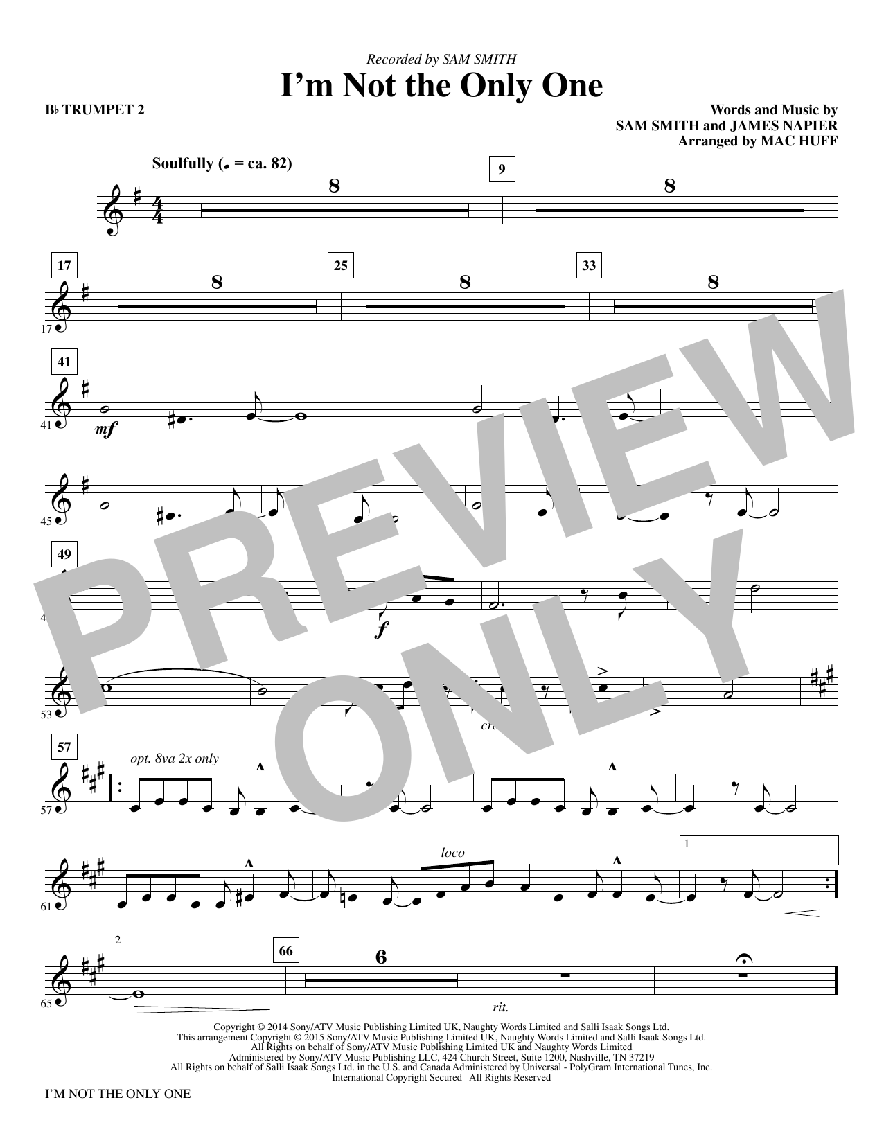 I'm Not the Only One - Bb Trumpet 2 (Choir Instrumental Pak)