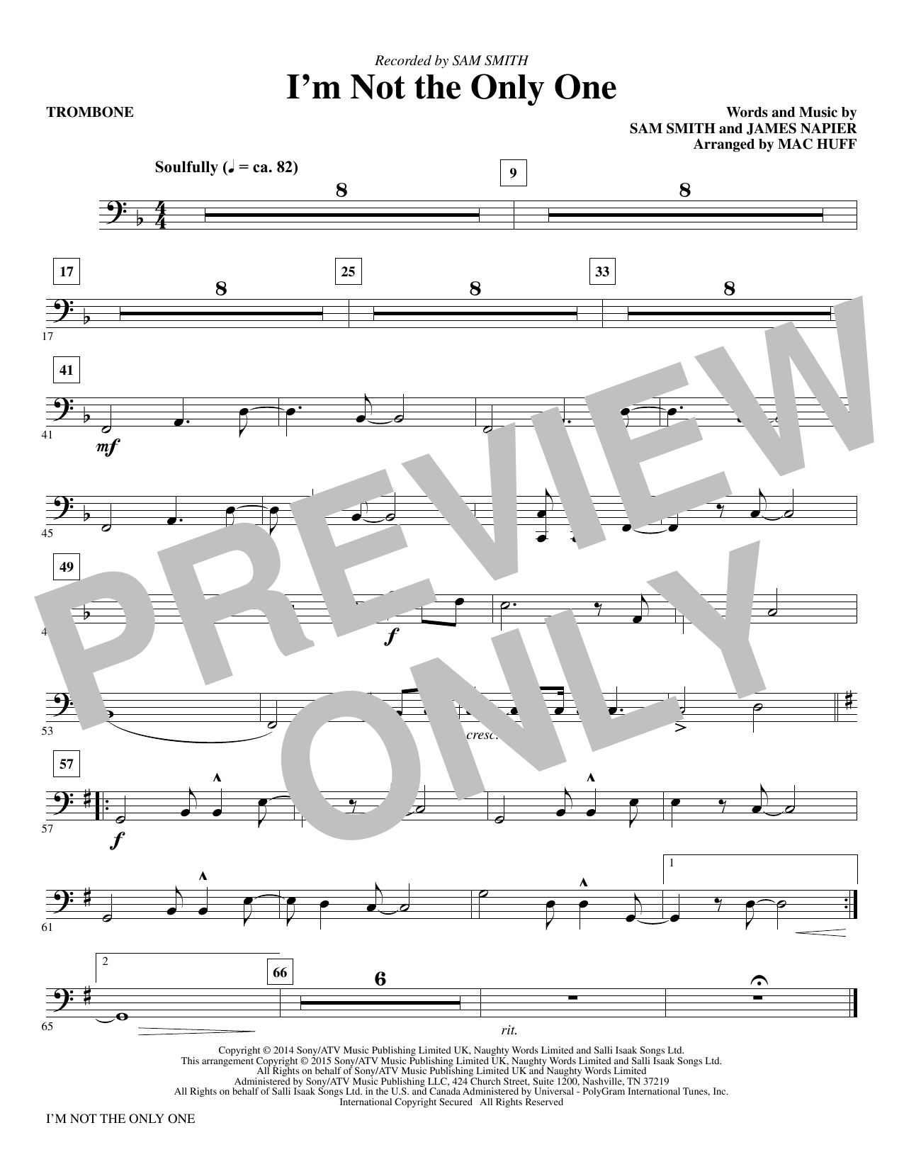 I'm Not the Only One - Trombone (Choir Instrumental Pak)