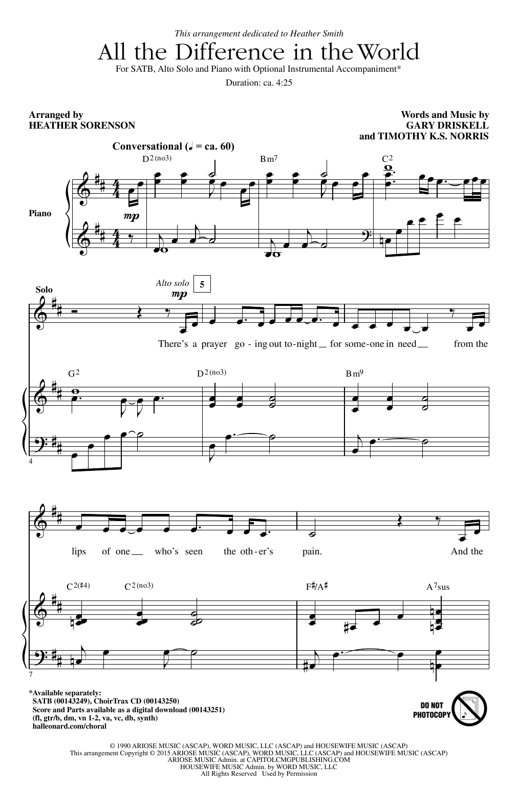 All The Difference In The World Sheet Music