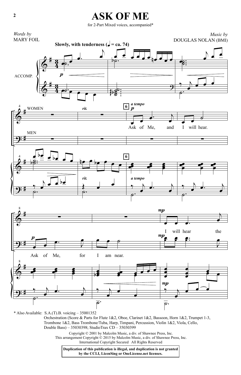 Ask Of Me Sheet Music