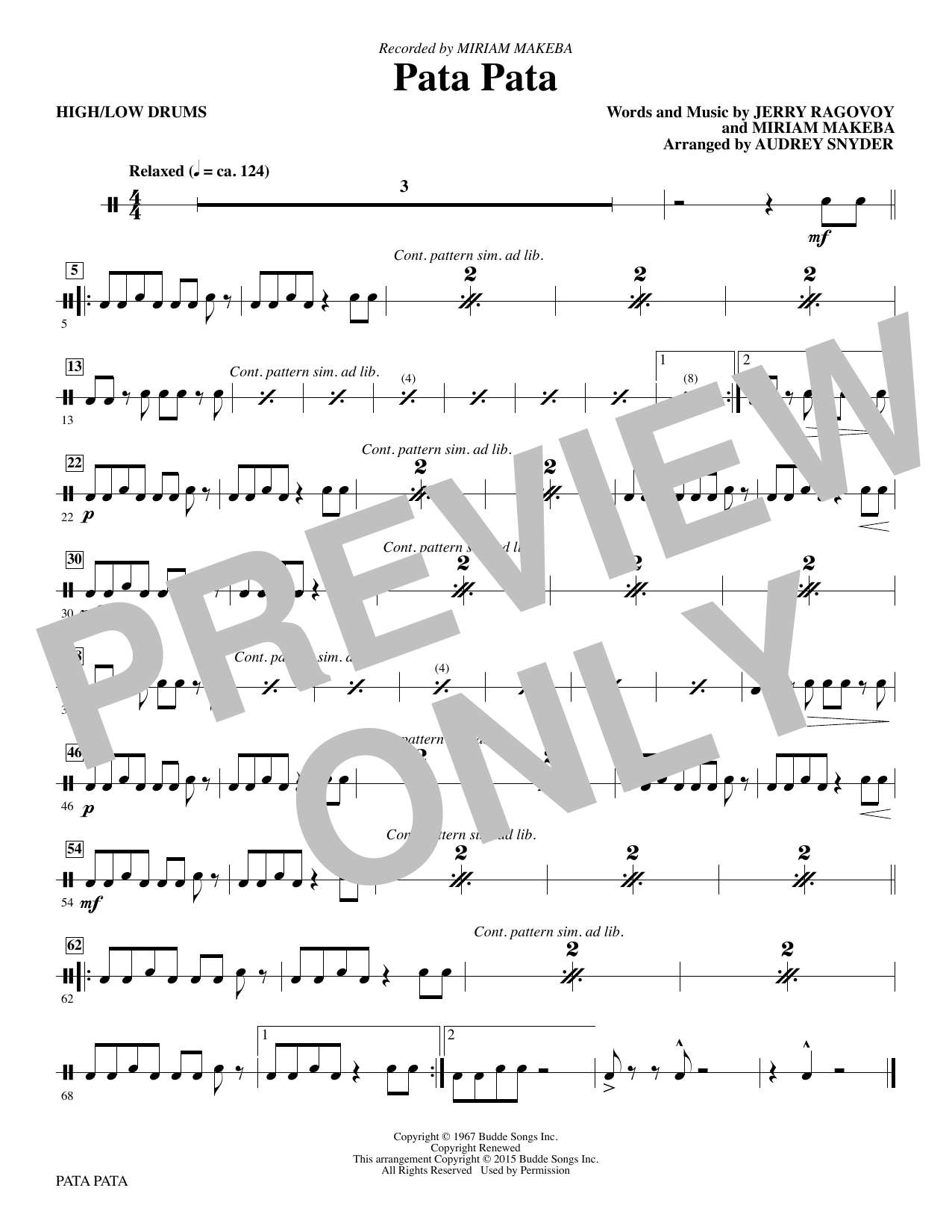 Pata Pata - Drums - Sheet Music to Download