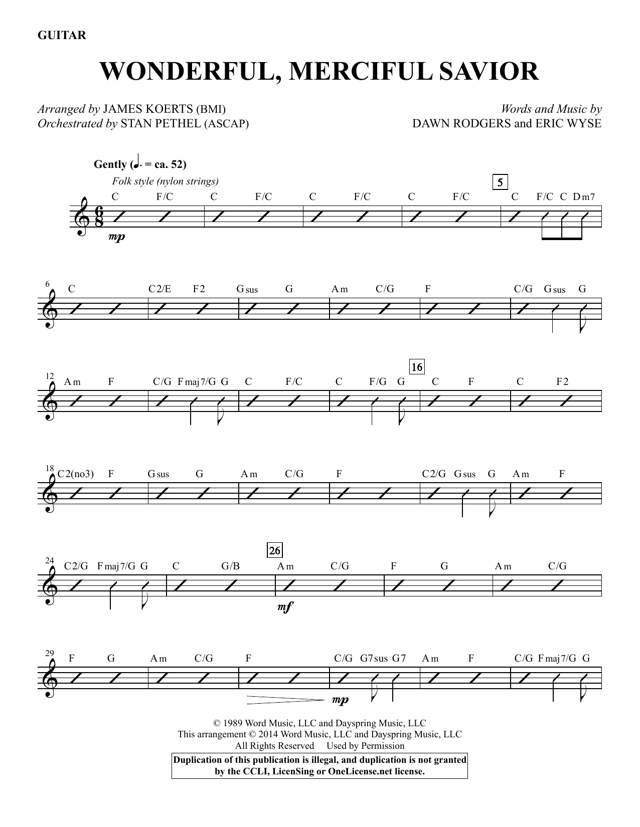 Wonderful, Merciful Savior - Guitar Sheet Music