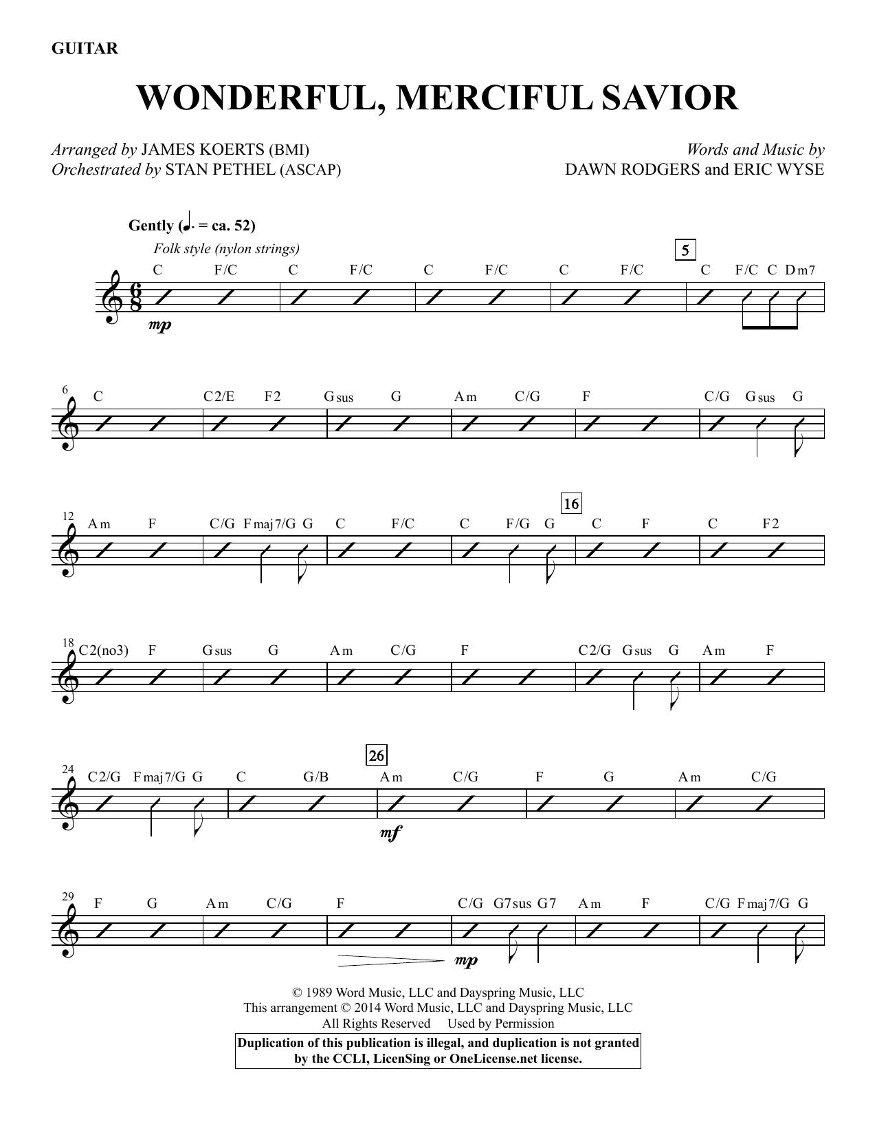 Wonderful Merciful Savior Guitar Sheet Music James Koerts