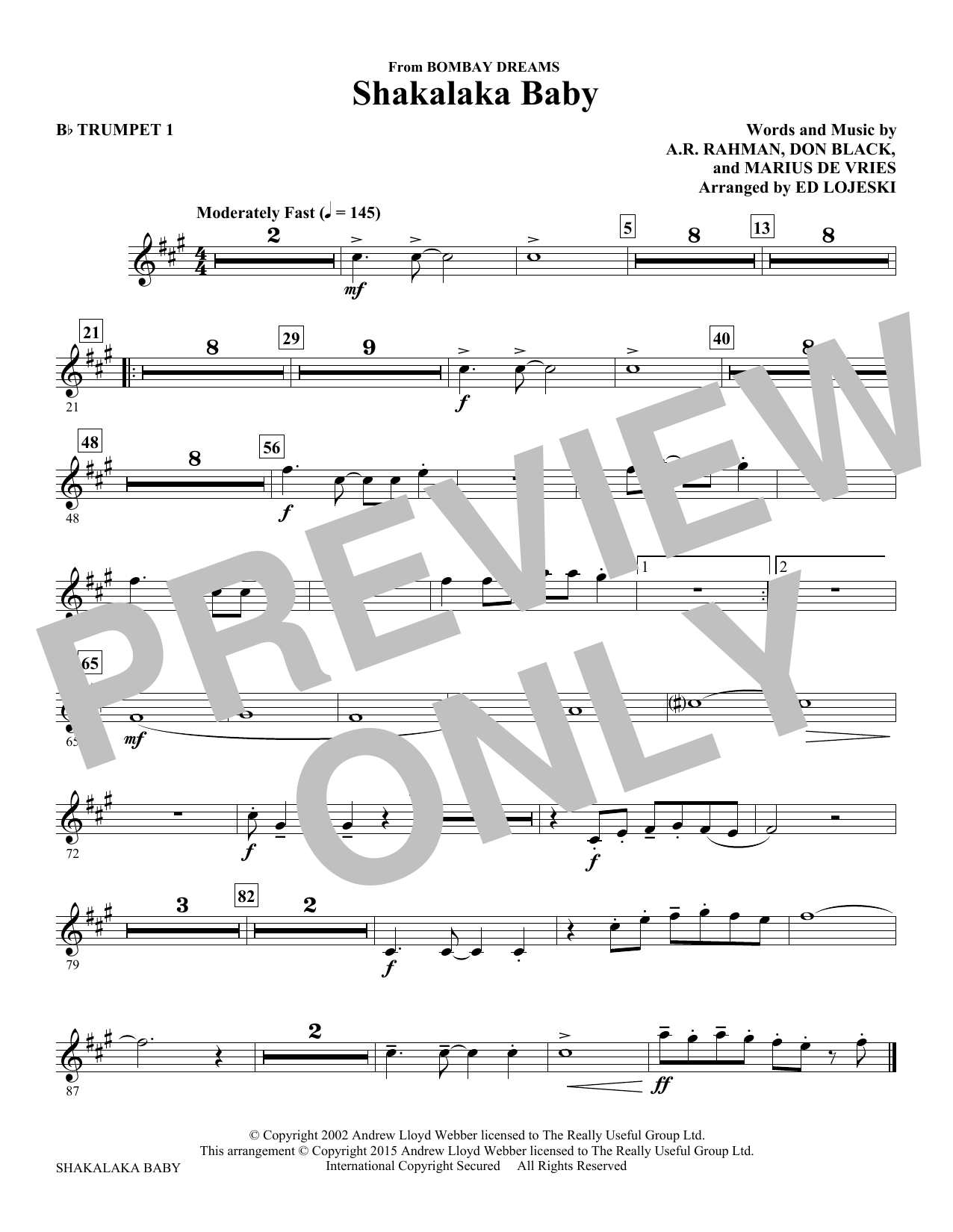 Shakalaka Baby (from Bombay Dreams) - Bb Trumpet 1 Sheet Music