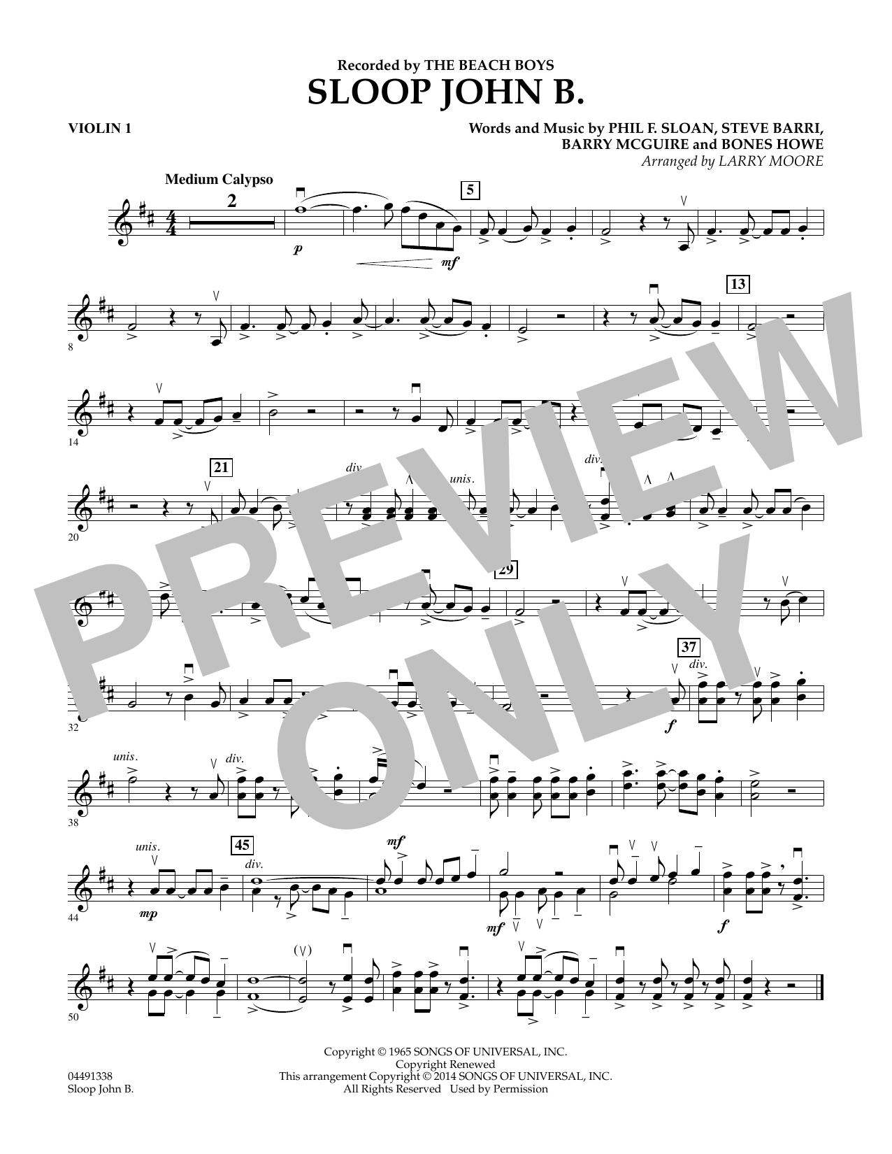 Sloop John B - Violin 1 Sheet Music