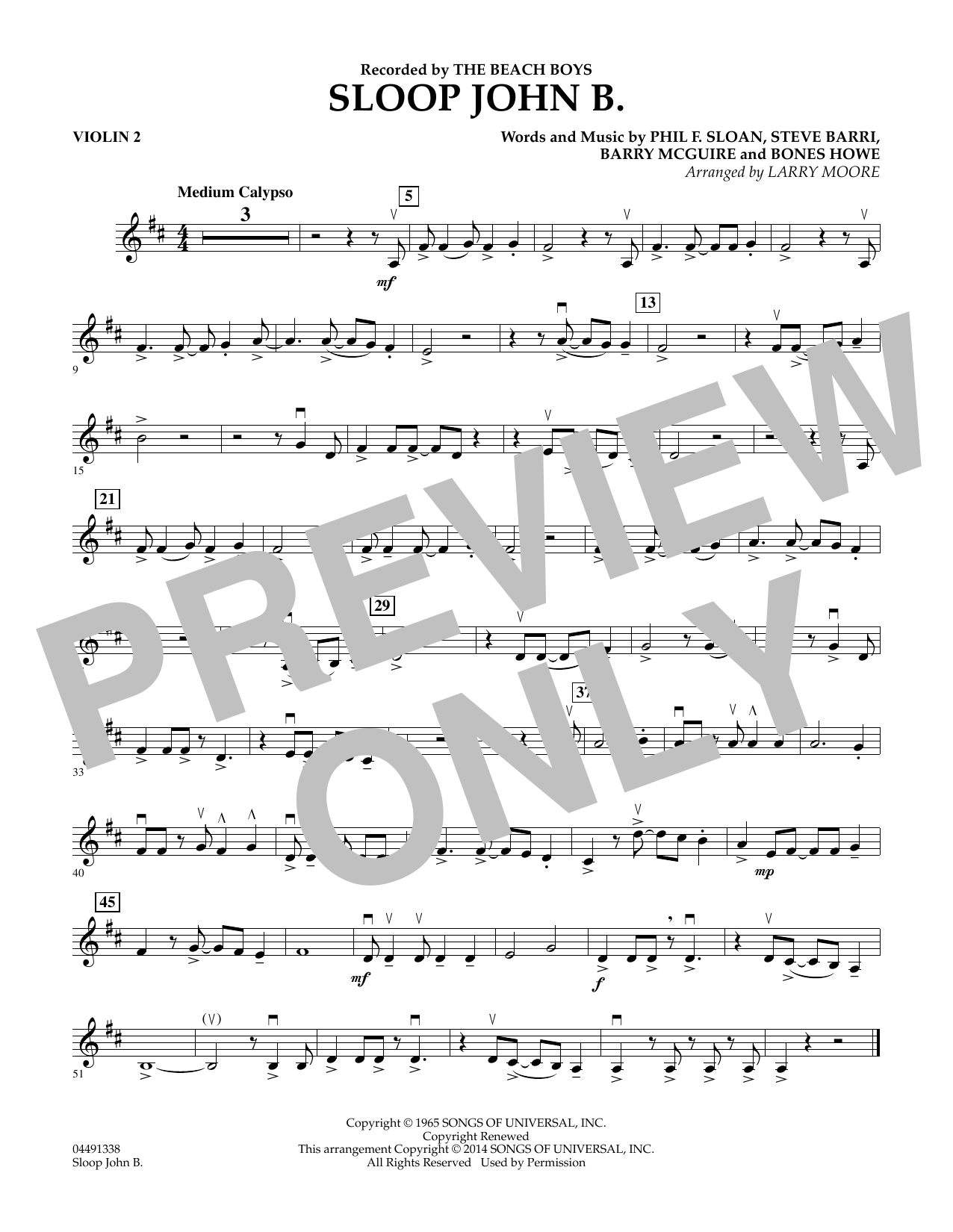 Sloop John B - Violin 2 (Orchestra)