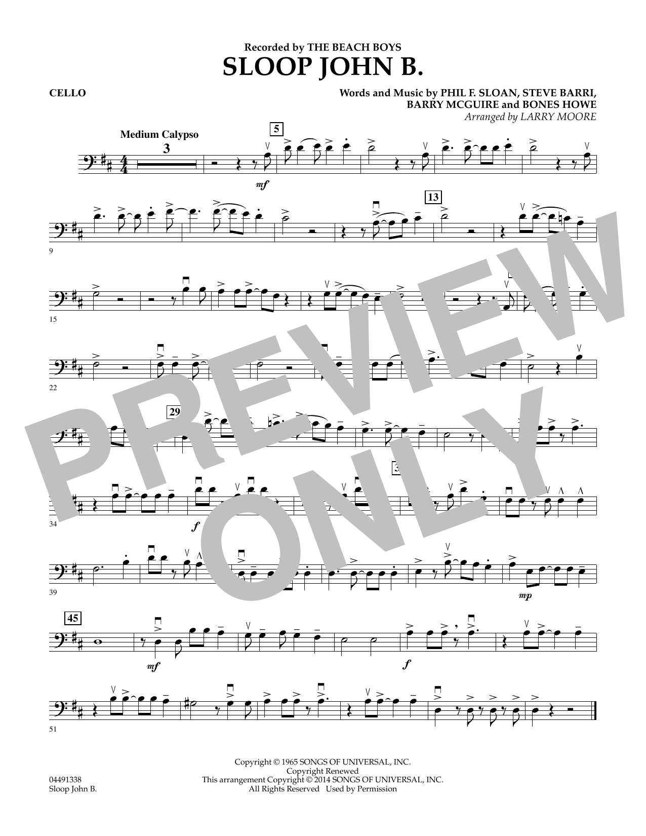 Sloop John B - Cello Sheet Music