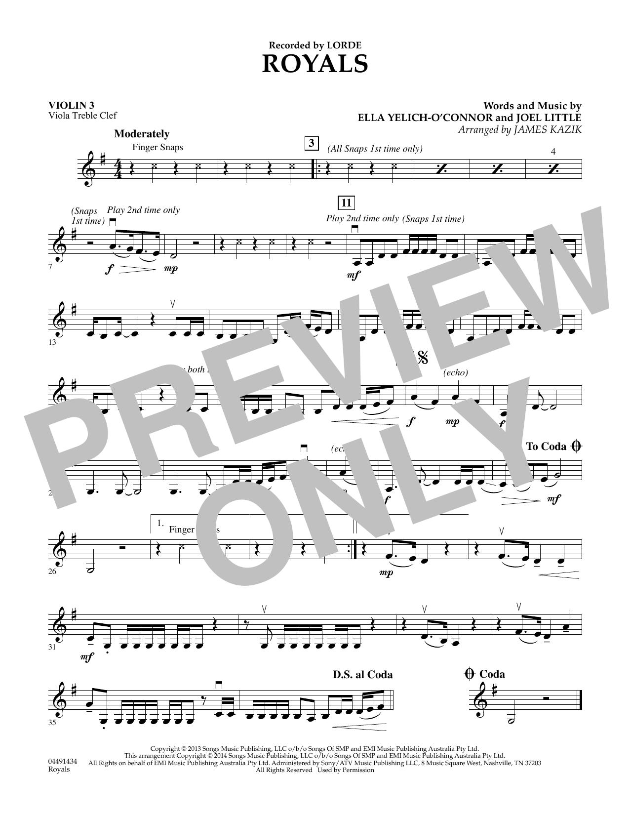 Royals - Violin 3 (Viola Treble Clef) (Orchestra)