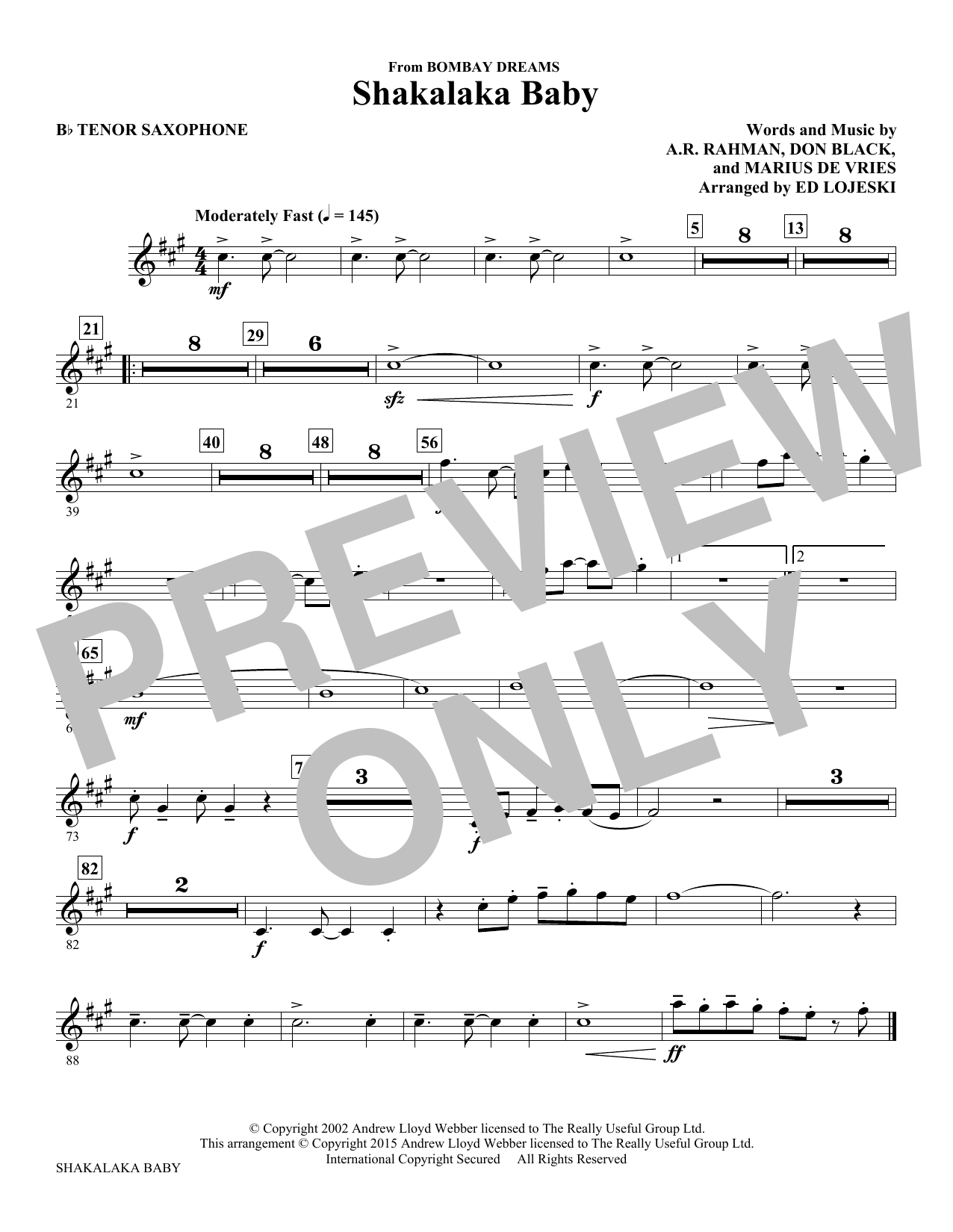 Shakalaka Baby (from Bombay Dreams) - Bb Tenor Saxophone Sheet Music