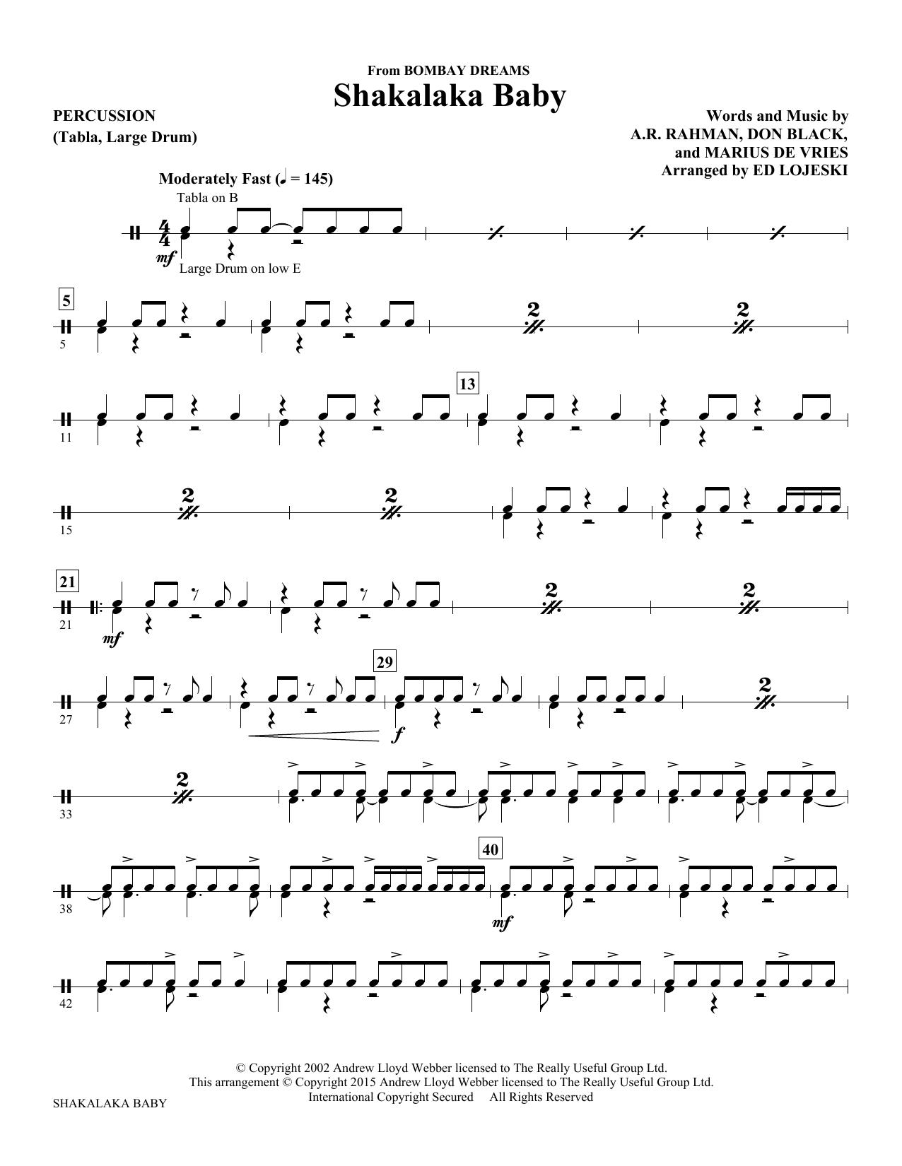 Shakalaka Baby (from Bombay Dreams) - Percussion Sheet Music