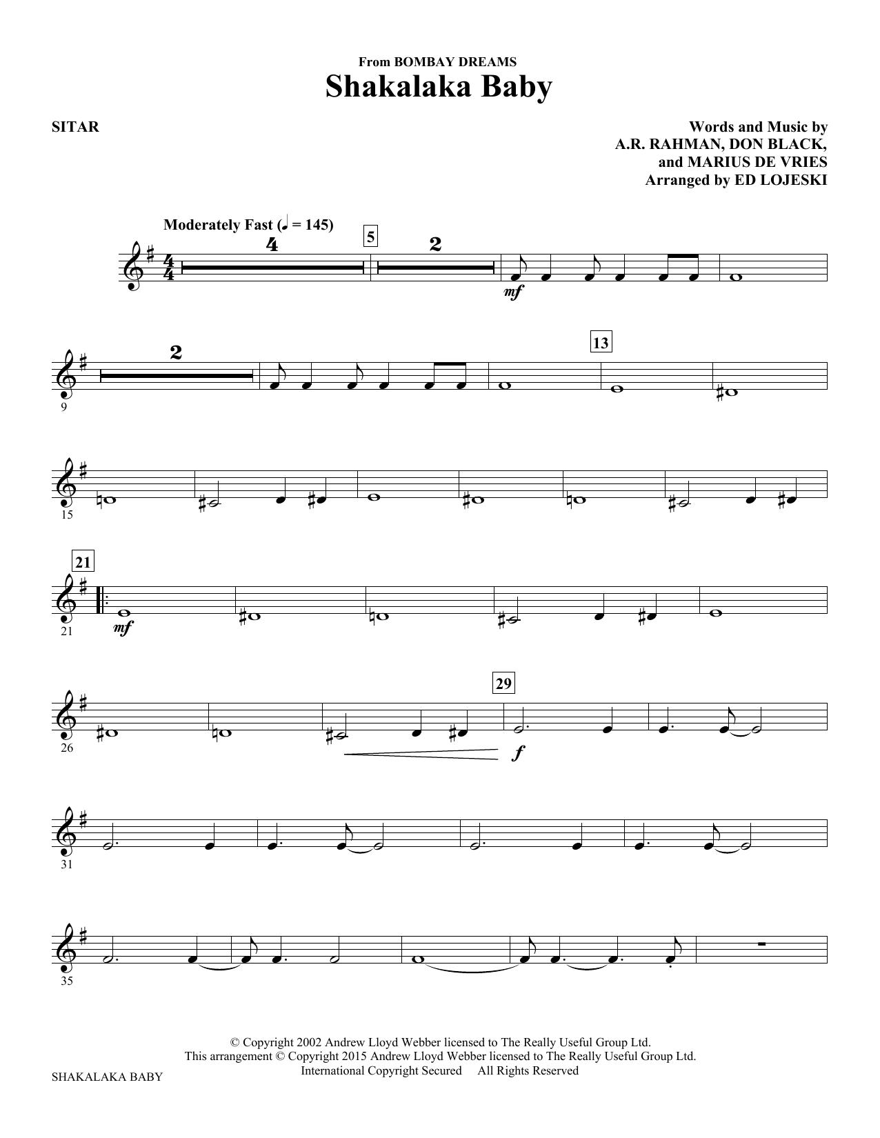 Shakalaka Baby (from Bombay Dreams) - Sitar Sheet Music