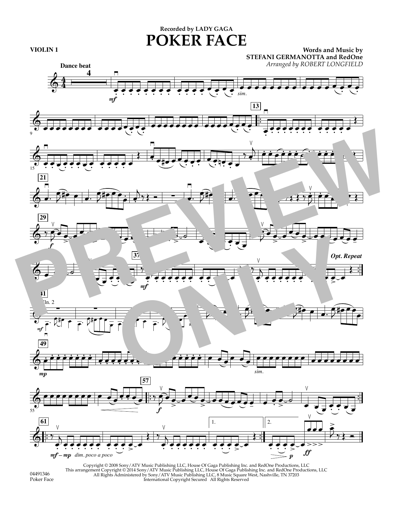 Poker Face - Violin 1 (Orchestra)