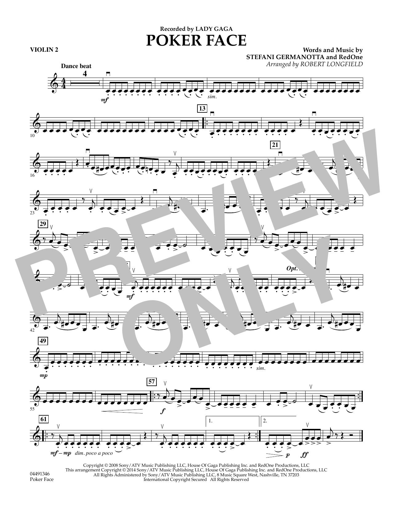 Poker Face - Violin 2 (Orchestra)