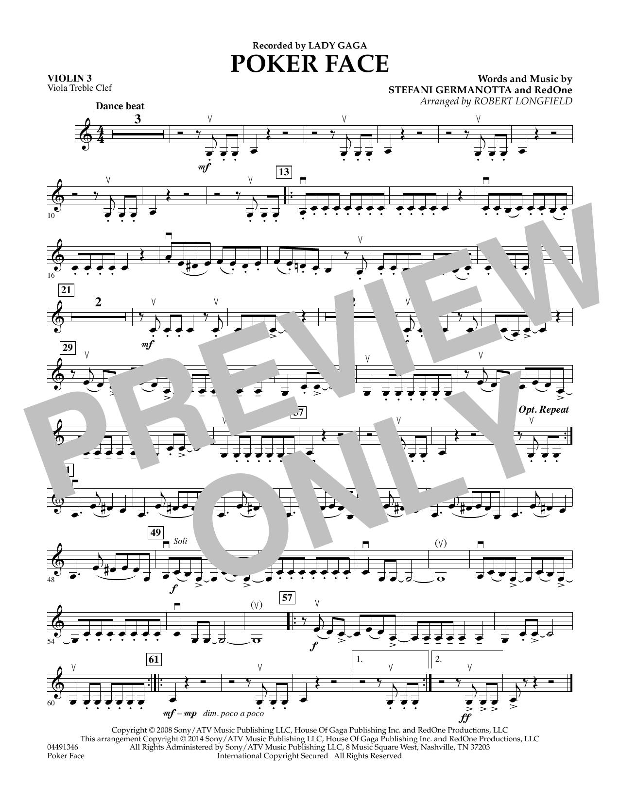 Poker Face - Violin 3 (Viola T.C.) (Orchestra)
