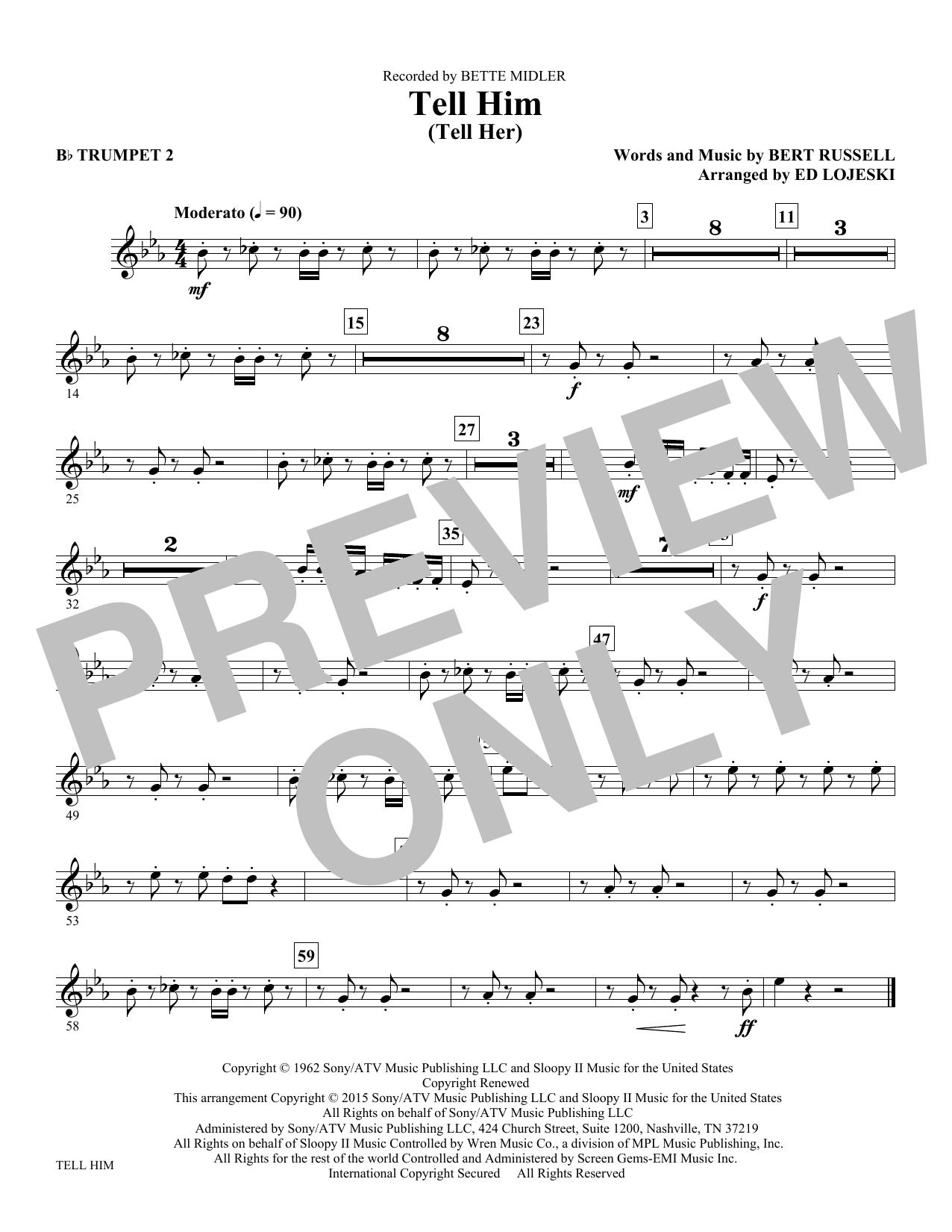 Tell Him (Tell Her) - Bb Trumpet 2 (Choir Instrumental Pak)