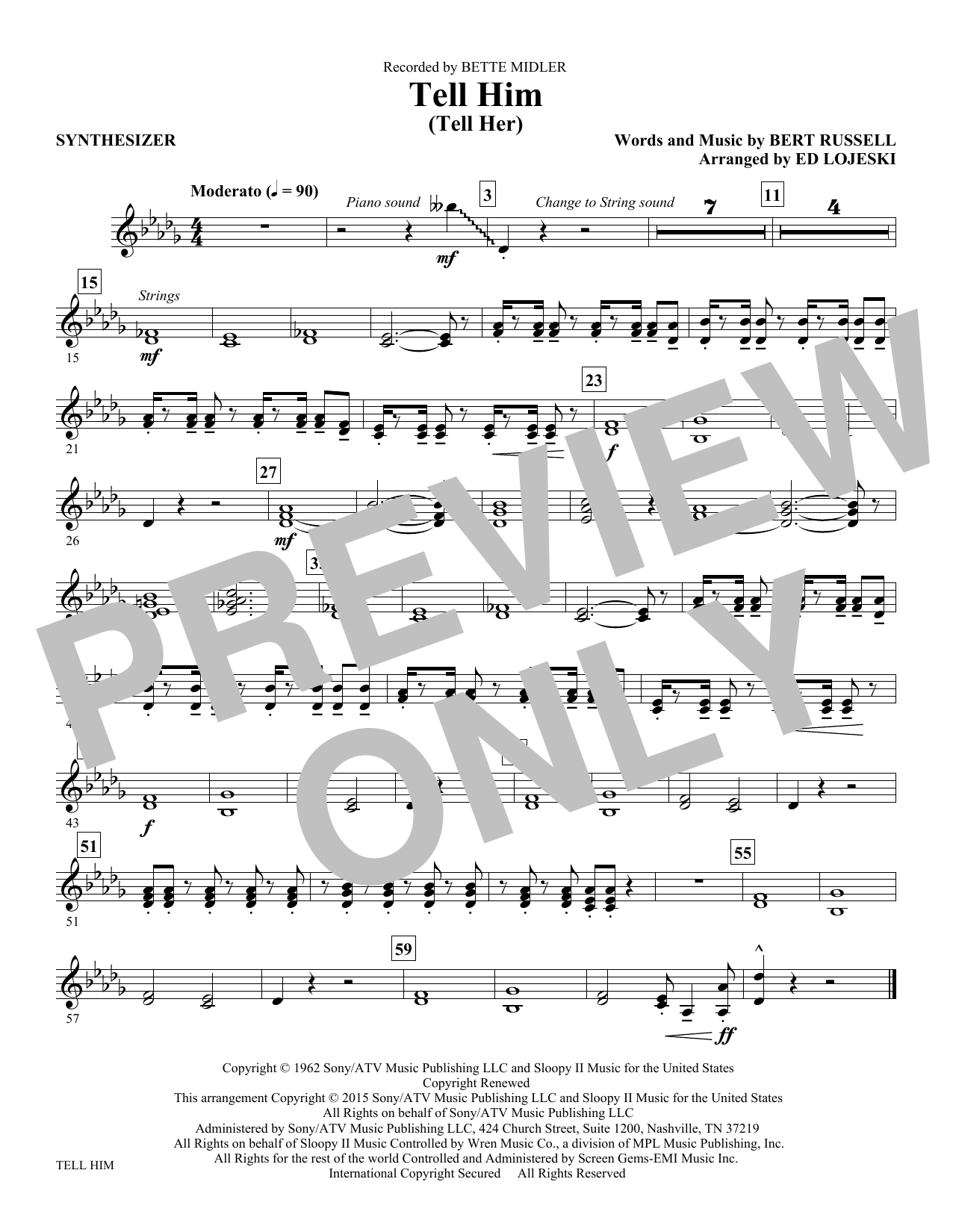 Tell Him (Tell Her) - Synthesizer Sheet Music