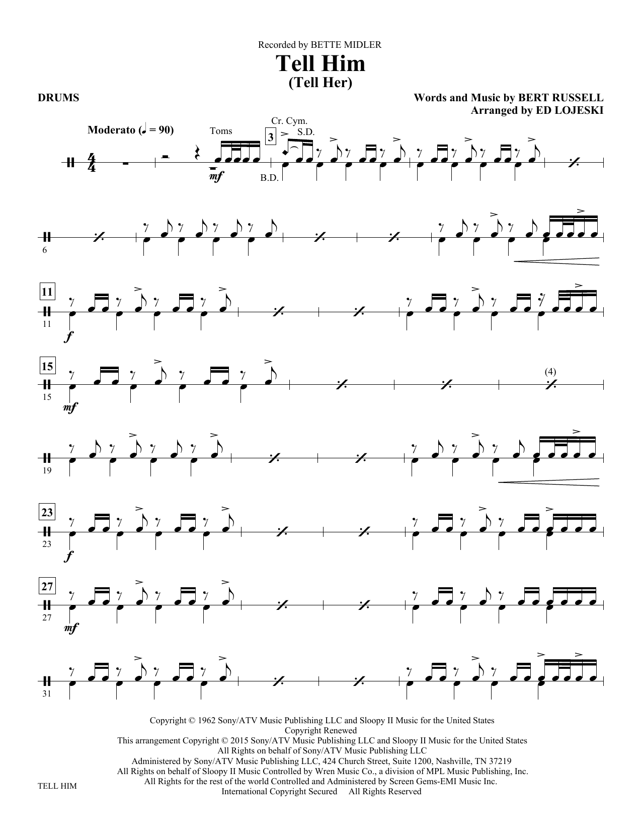 Tell Him (Tell Her) - Drums Sheet Music