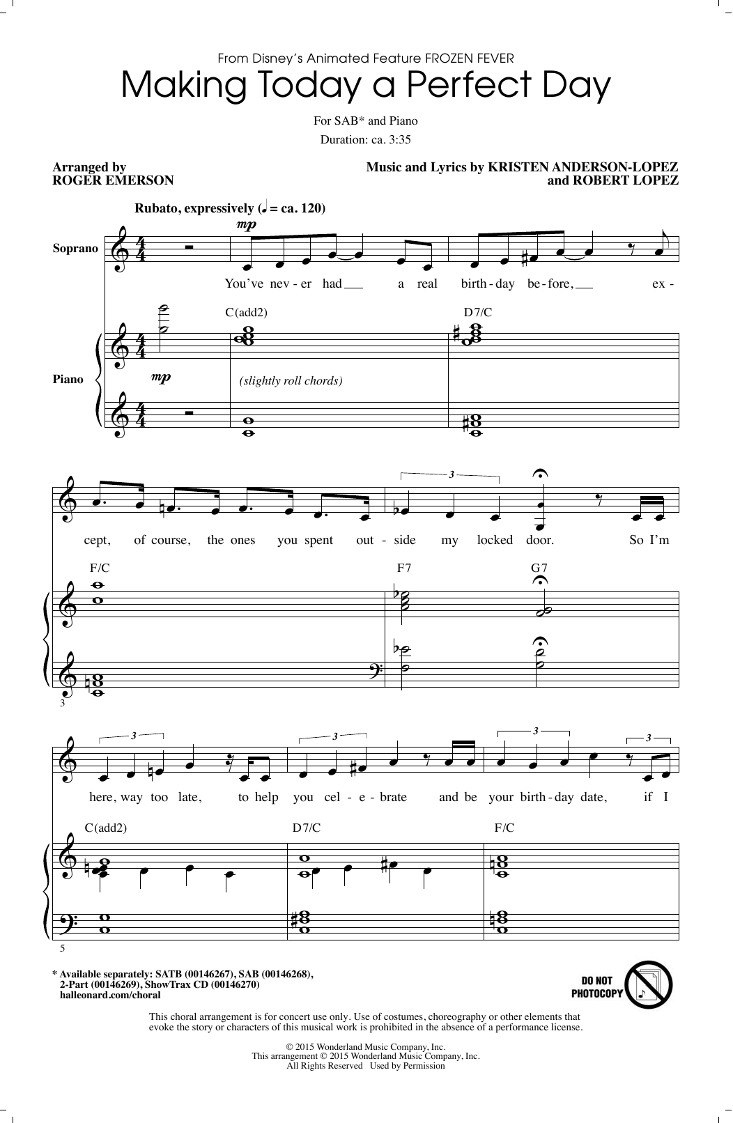 Making Today A Perfect Day (from Frozen Fever) (arr. Roger Emerson) Sheet Music