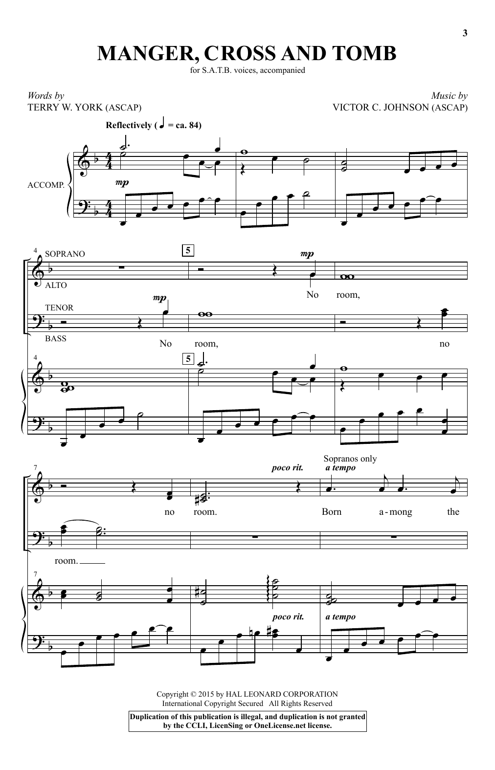 Manger, Cross And Tomb Sheet Music