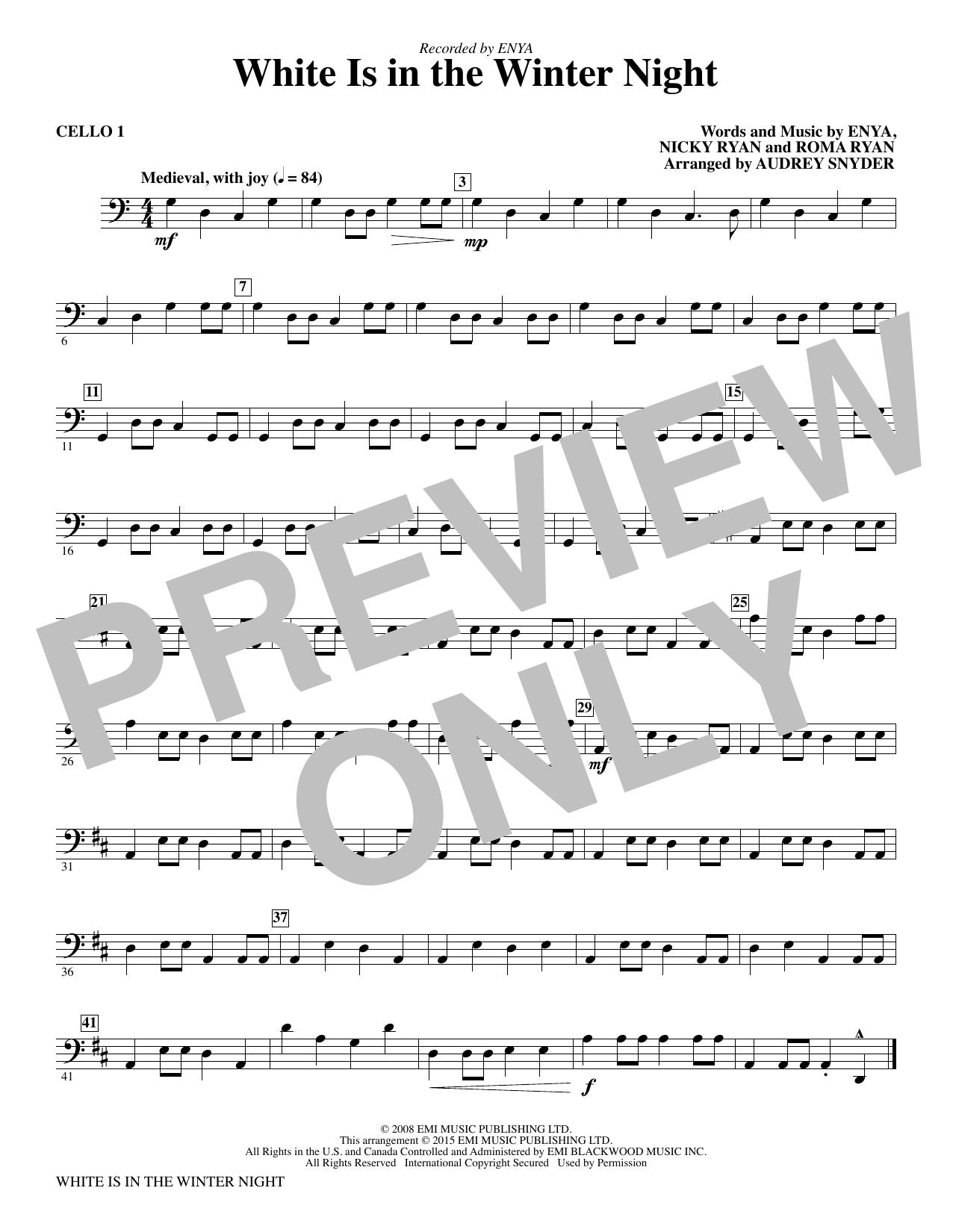 White Is in the Winter Night - Cello 1 (Choir Instrumental Pak)