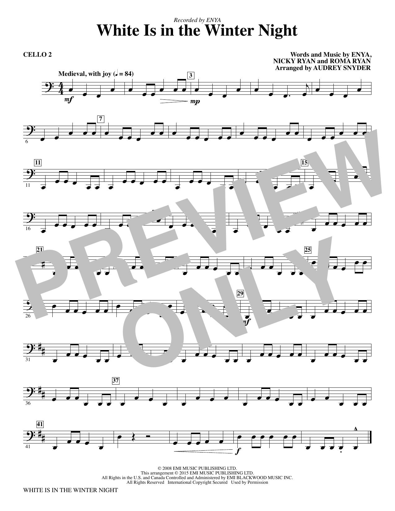 White Is in the Winter Night - Cello 2 (Choir Instrumental Pak)