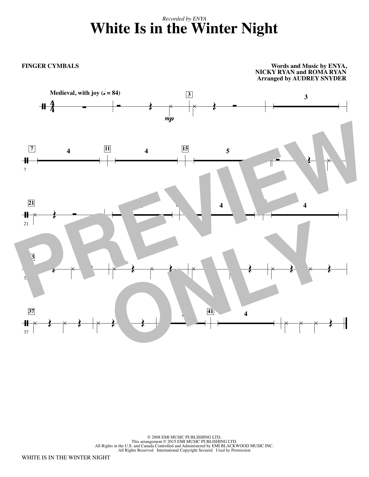 White Is in the Winter Night (complete set of parts) sheet music for orchestra/band by Audrey Snyder, Enya, Nicky Ryan and Roma Ryan. Score Image Preview.