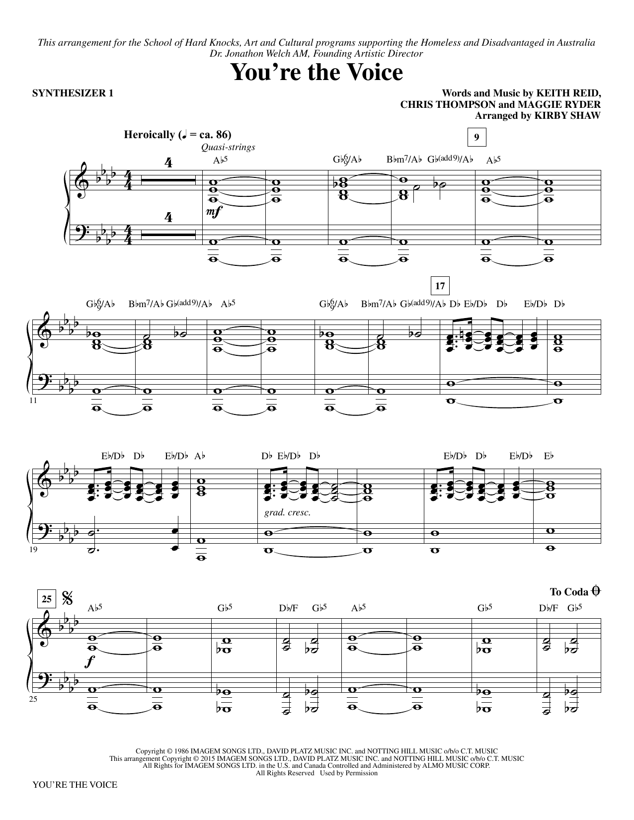 page one of You're the Voice (arr. Kirby Shaw) - Synthesizer IASALTTEXT