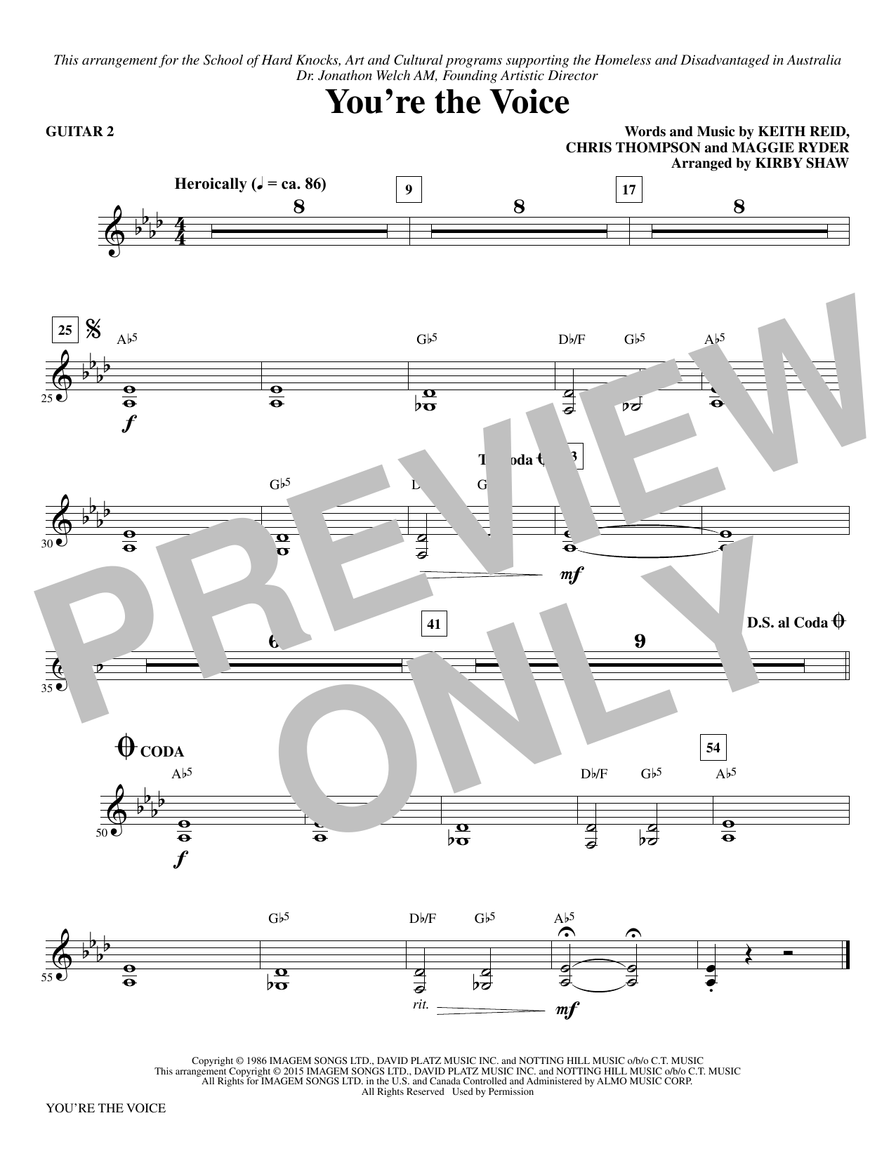 page one of You're the Voice (arr. Kirby Shaw) - Guitar 2ASALTTEXT
