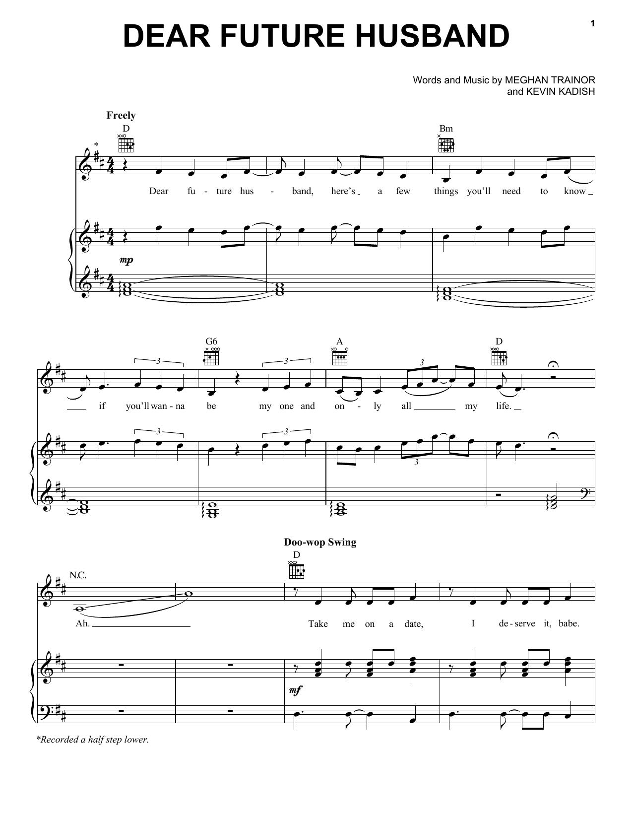 Partition piano Dear Future Husband de Meghan Trainor - Piano Voix Guitare (Mélodie Main Droite)