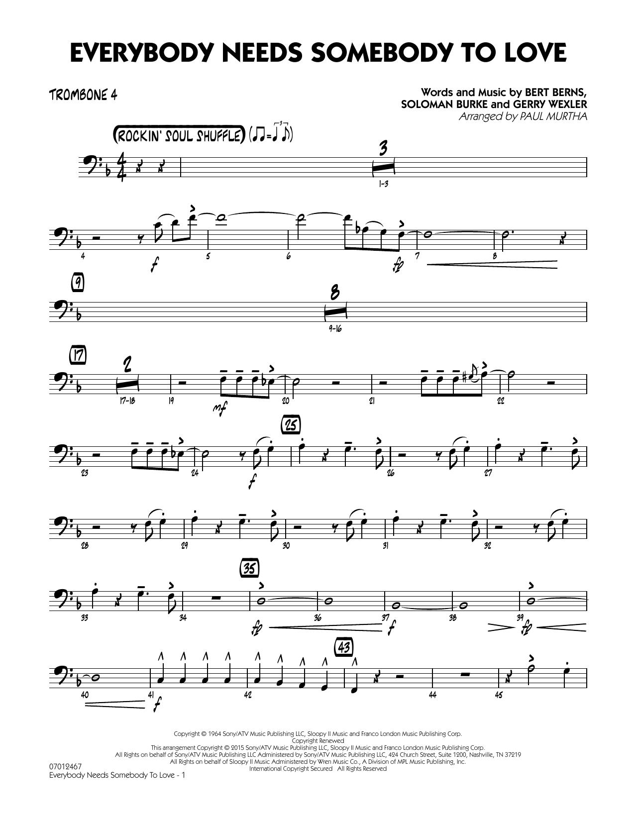 Everybody Needs Somebody to Love - Trombone 4 (Jazz Ensemble)