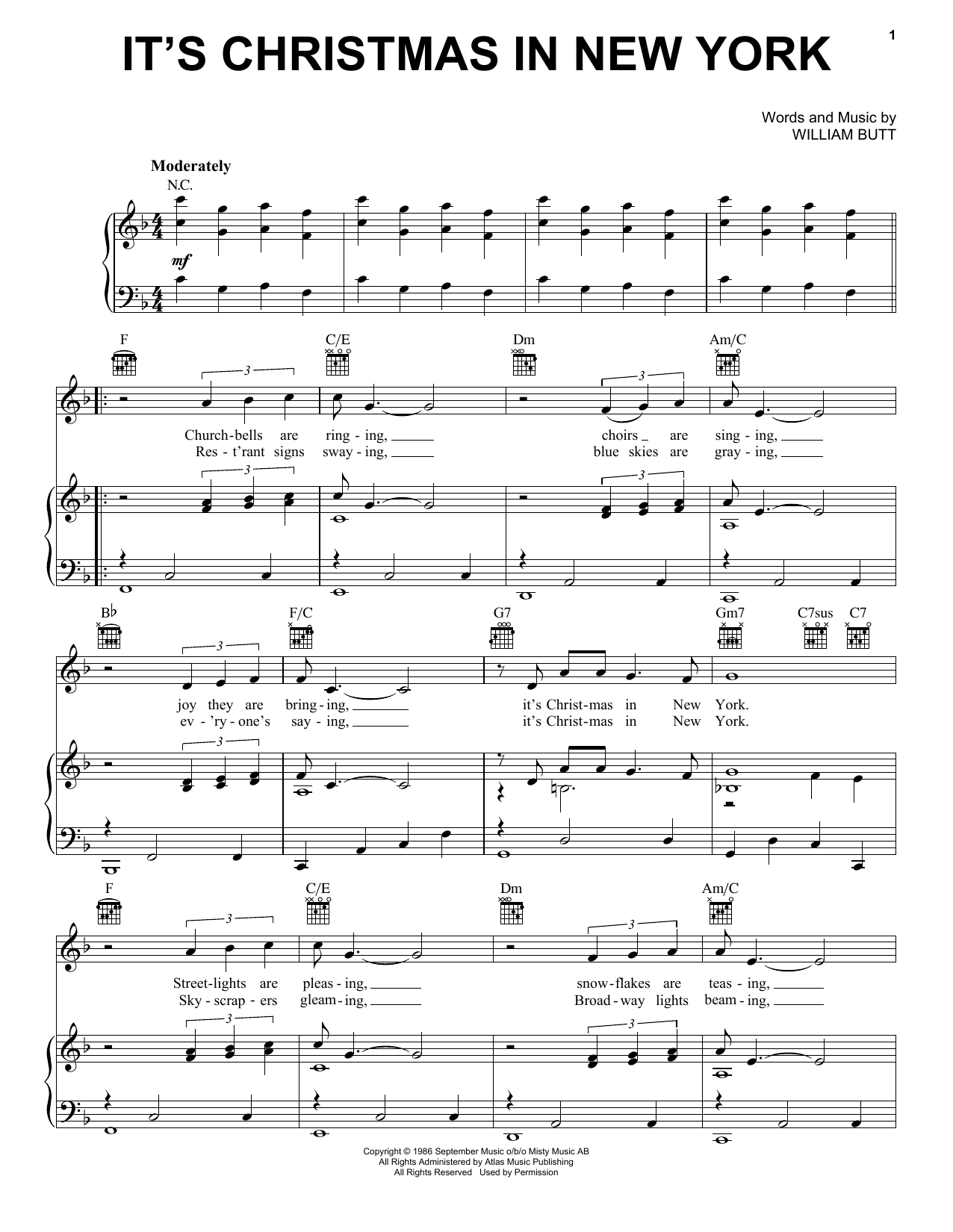 It\'s Christmas In New York by Billy Butt - Hal Leonard - Prima Music