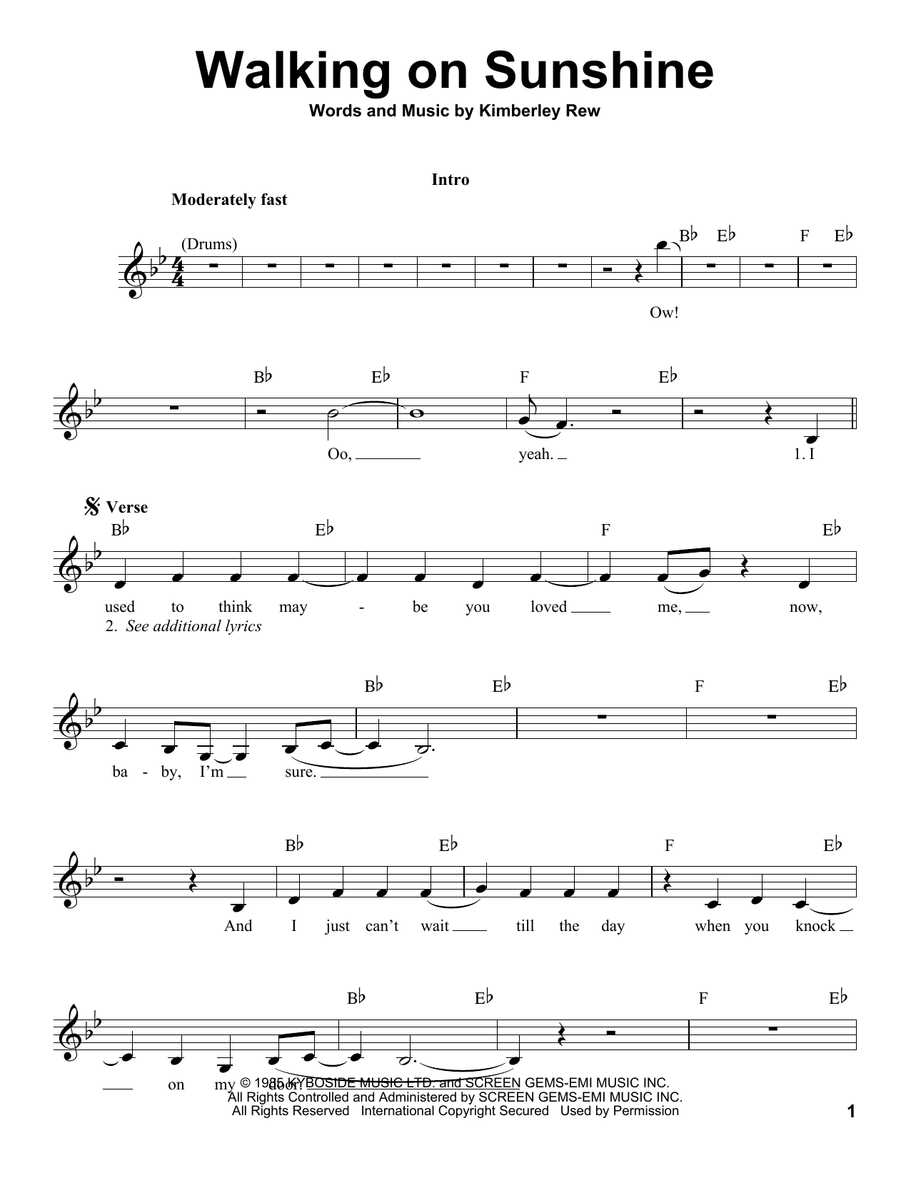 Walking On Sunshine Sheet Music