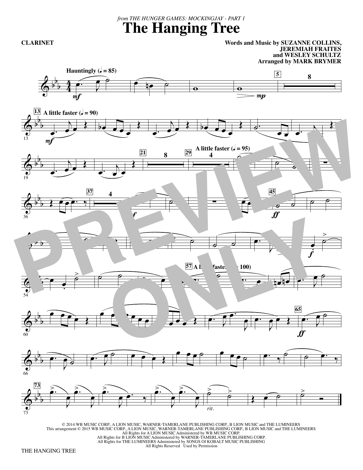 The Hanging Tree (from The Hunger Games: Mockingjay Part I) - Bb Clarinet Sheet Music