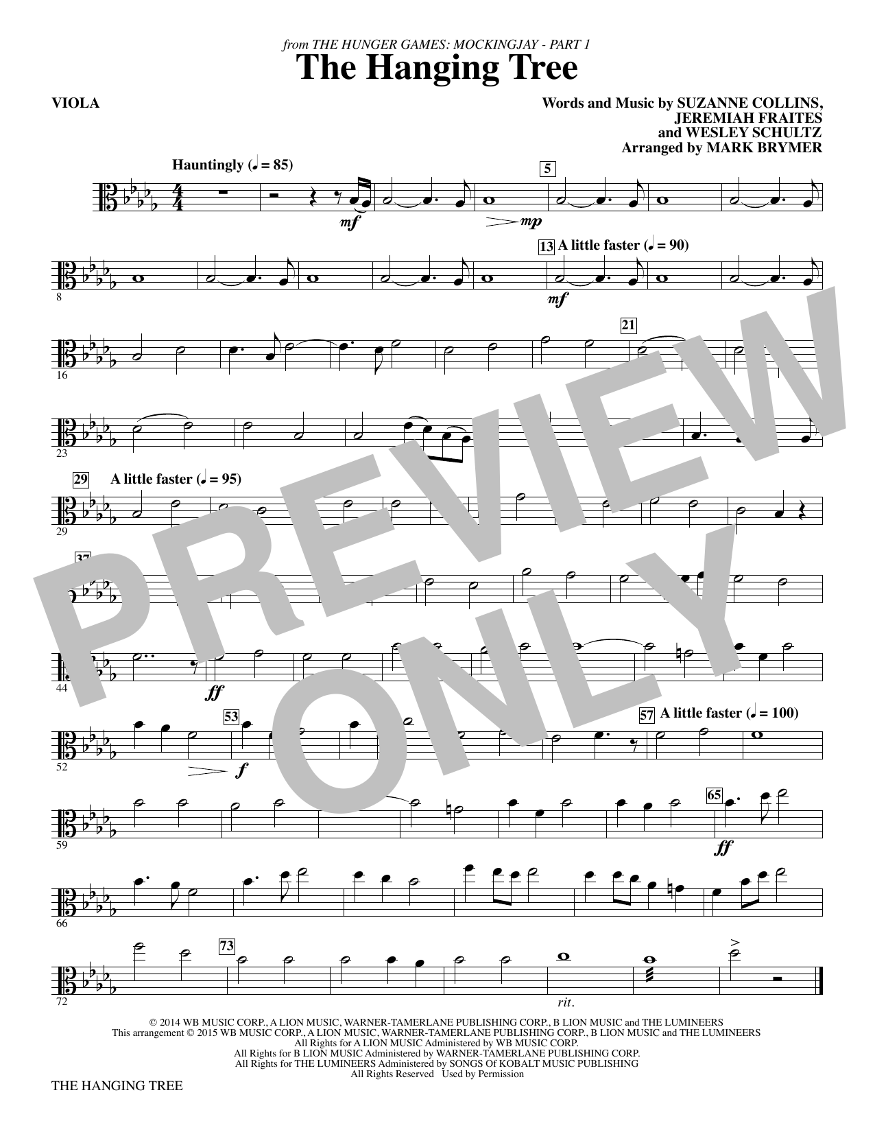 The Hanging Tree (from The Hunger Games: Mockingjay Part I) - Viola Sheet Music