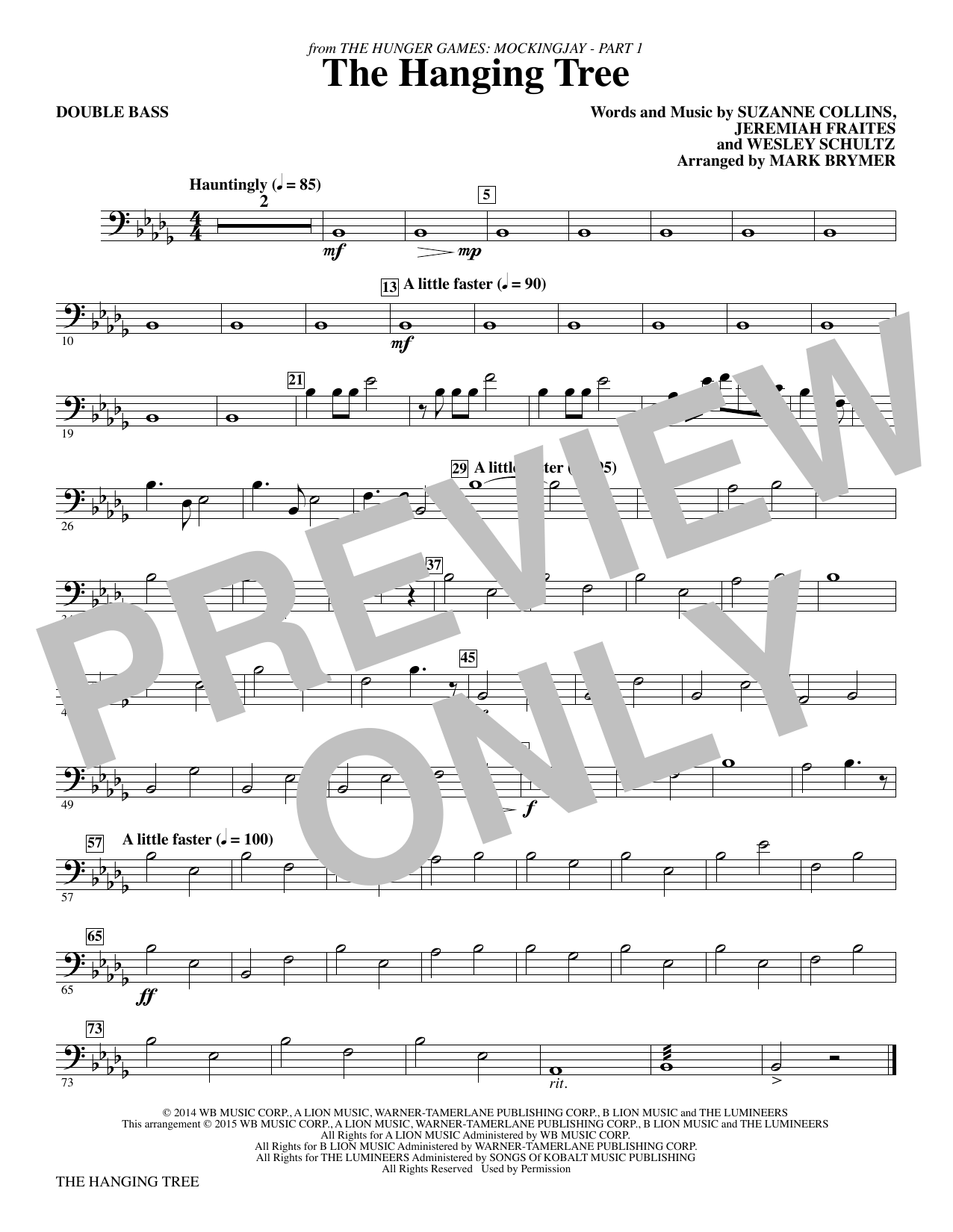 The Hanging Tree (from The Hunger Games: Mockingjay Part I) - Double Bass Sheet Music