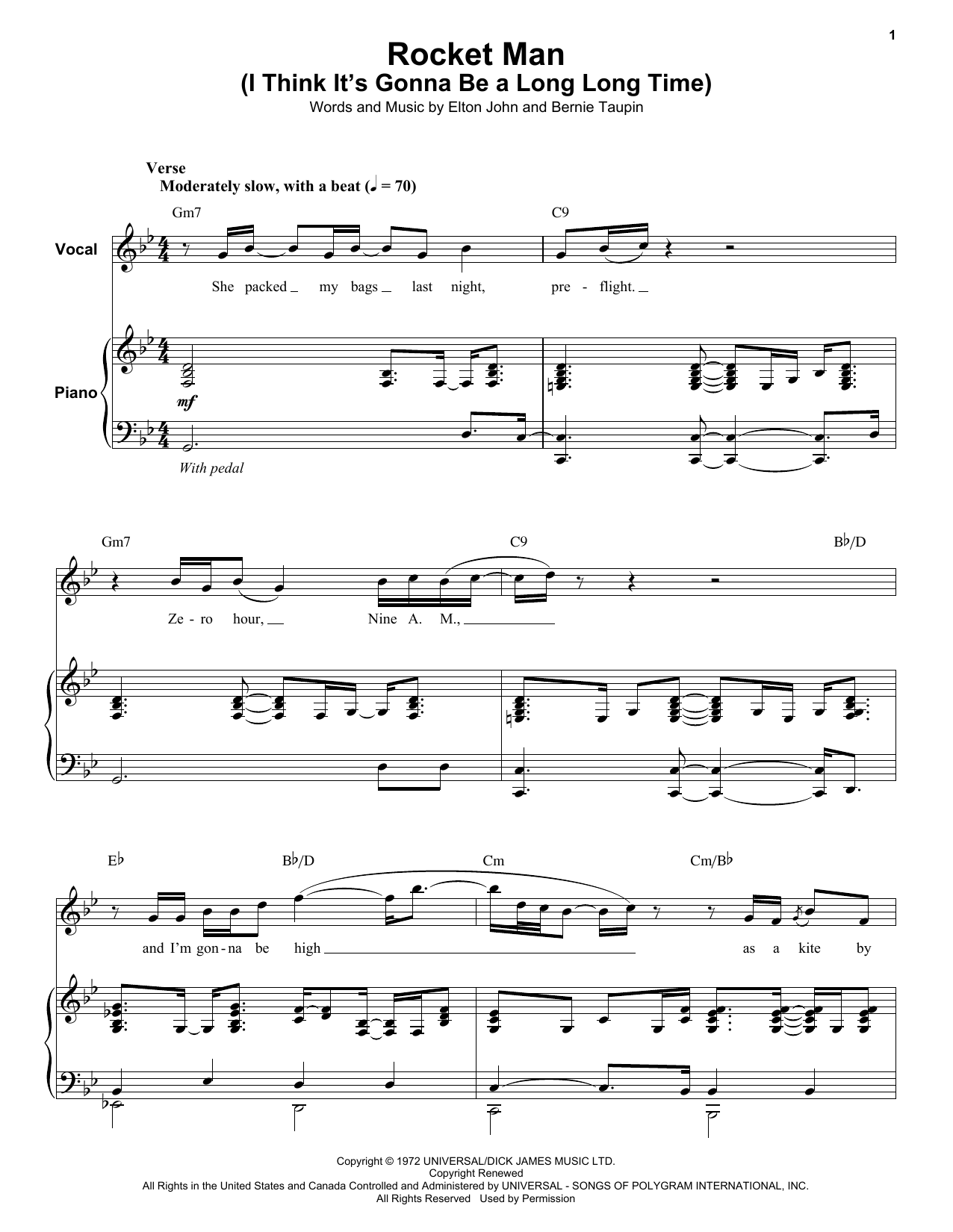 Rocket Man I Think Its Gonna Be A Long Long Time Sheet Music By