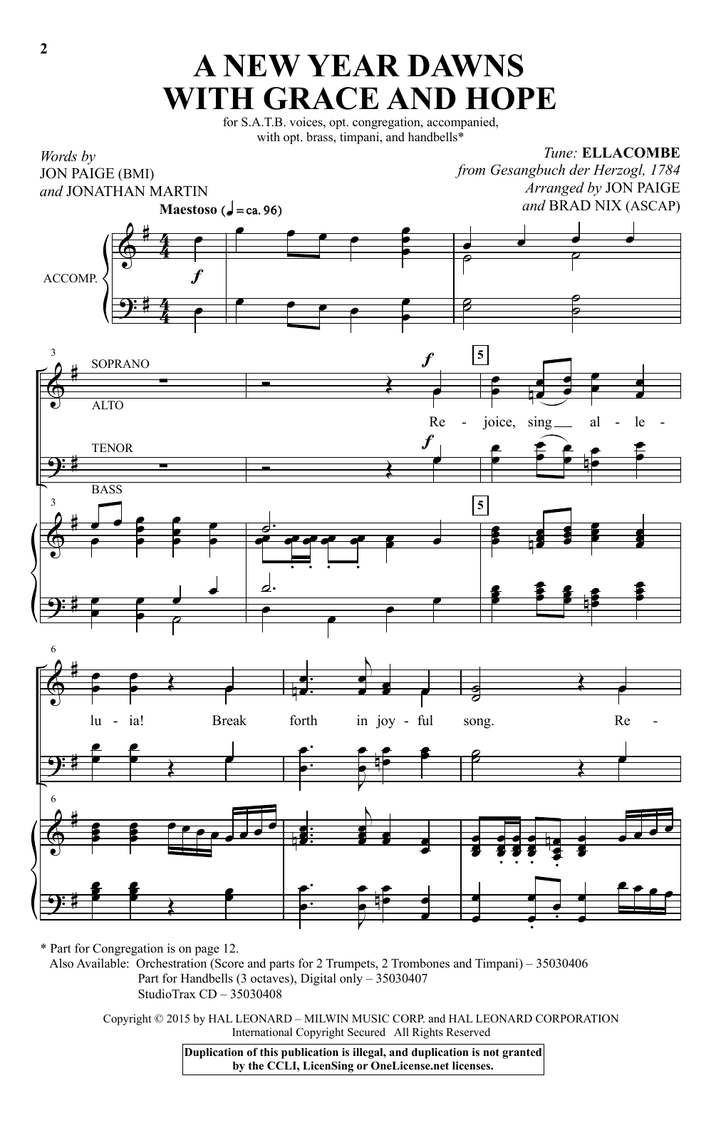 Partition autre A New Year Dawns With Grace And Hope de Brad Nix - SATB