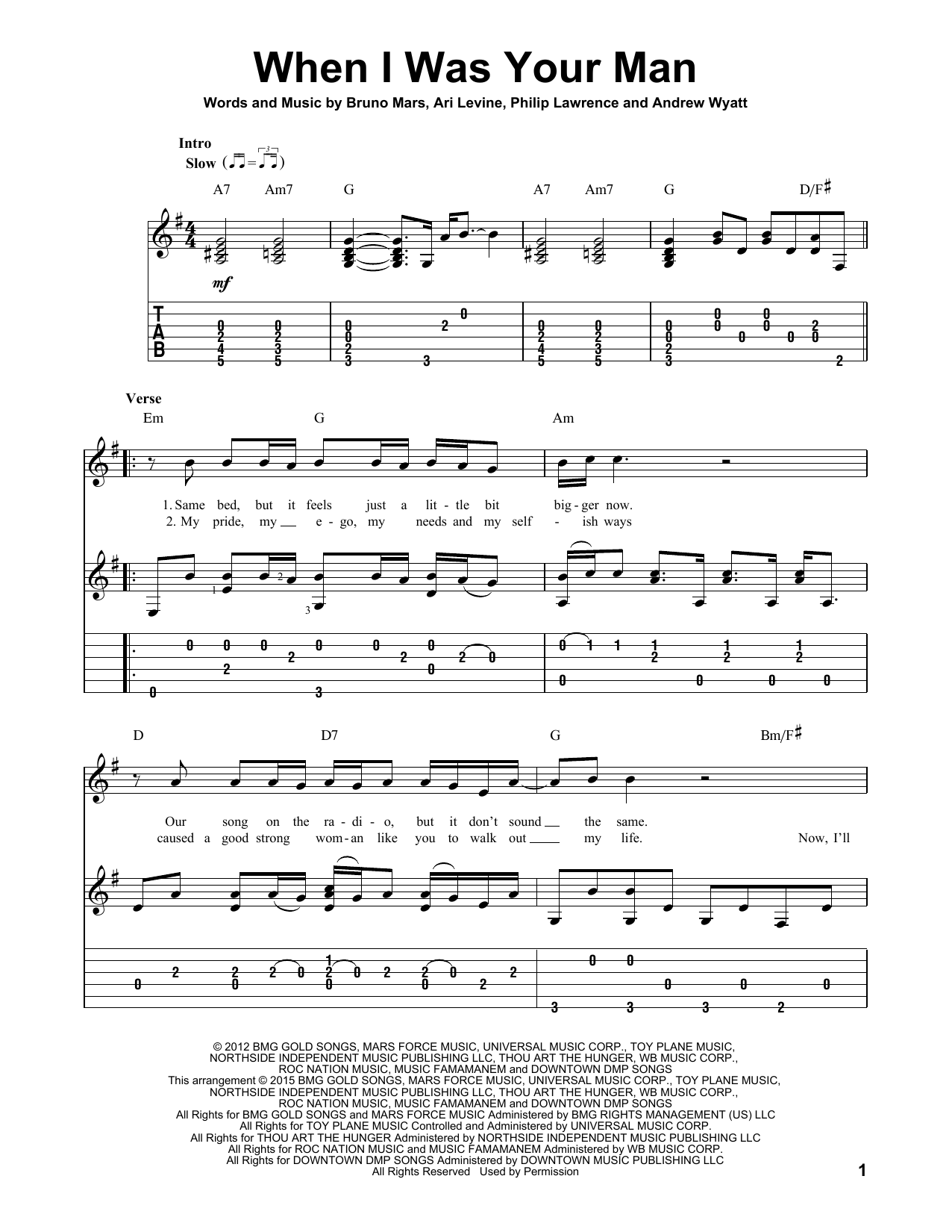 Tablature guitare When I Was Your Man de Bruno Mars - Tablature Guitare